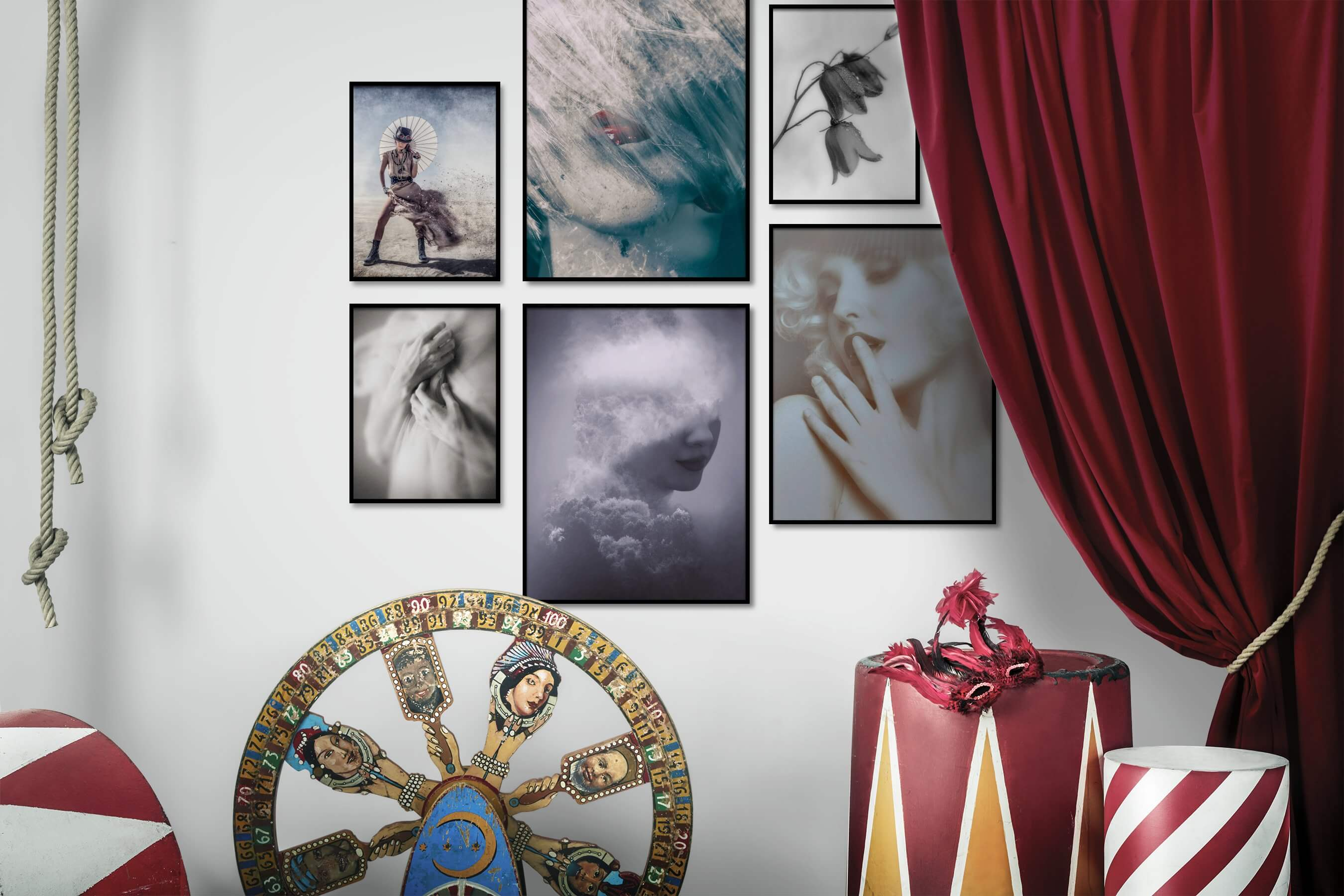 Gallery wall idea with six framed pictures arranged on a wall depicting Fashion & Beauty, Vintage, Black & White, For the Moderate, Artsy, Nature, Mindfulness, For the Minimalist, and Flowers & Plants