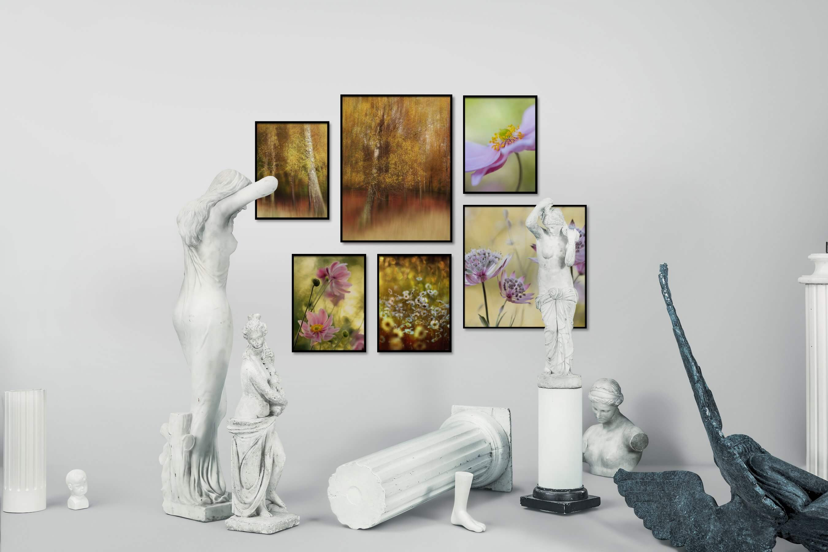 Gallery wall idea with six framed pictures arranged on a wall depicting For the Moderate, Nature, and Flowers & Plants