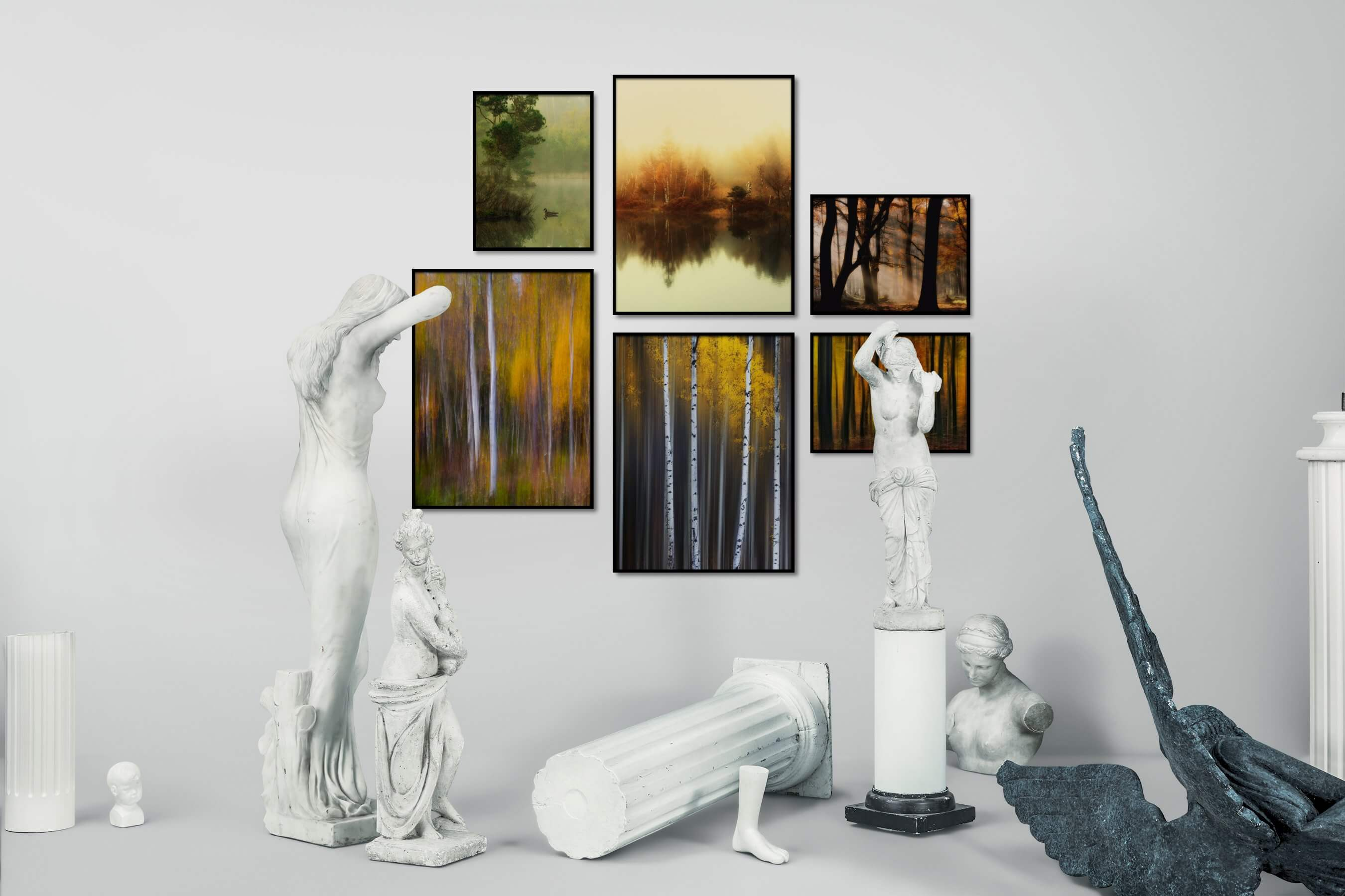 Gallery wall idea with six framed pictures arranged on a wall depicting Nature, Animals, For the Minimalist, For the Moderate, and For the Maximalist