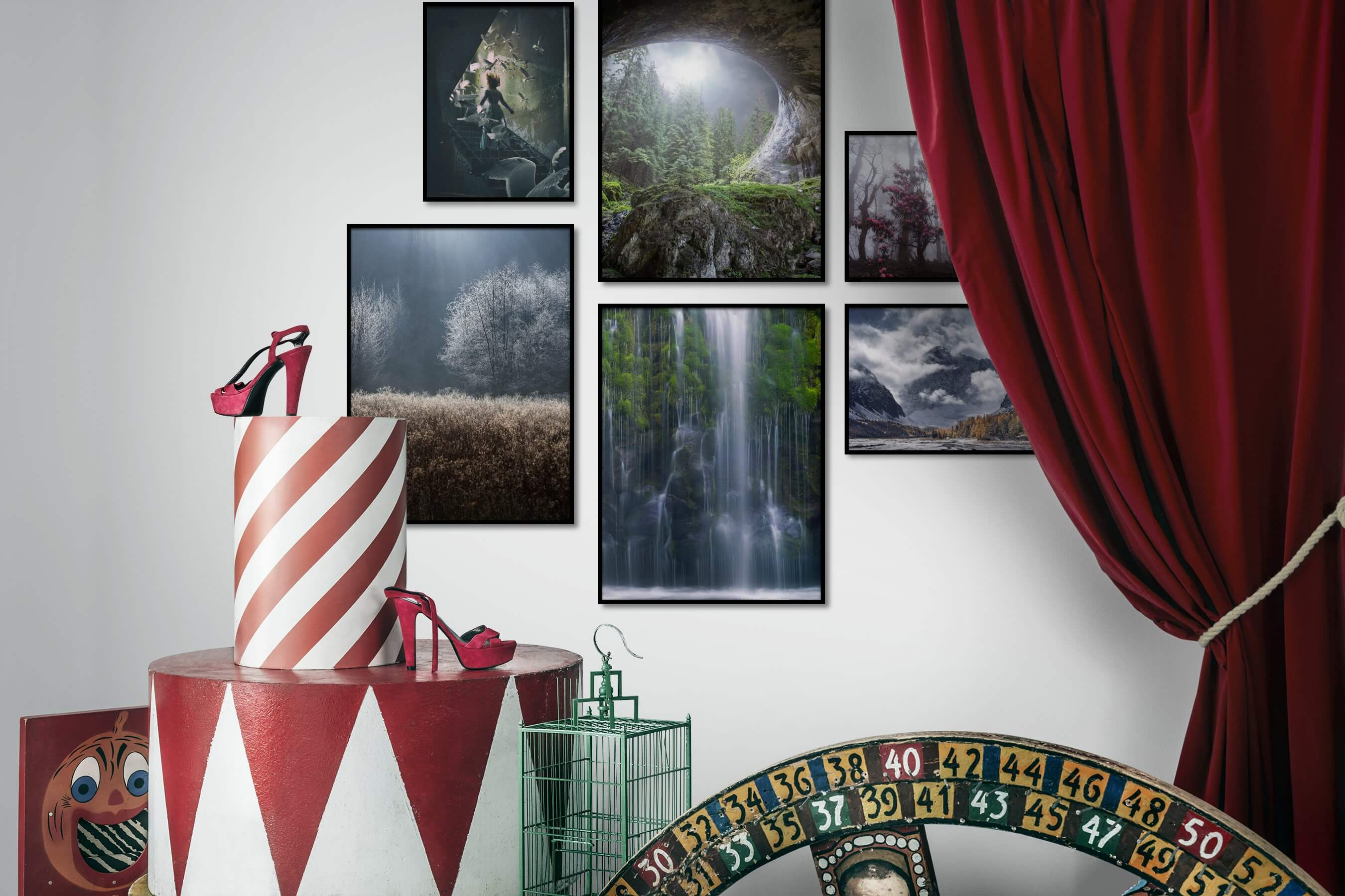 Gallery wall idea with six framed pictures arranged on a wall depicting Artsy, Animals, Vintage, Nature, Mindfulness, and Flowers & Plants