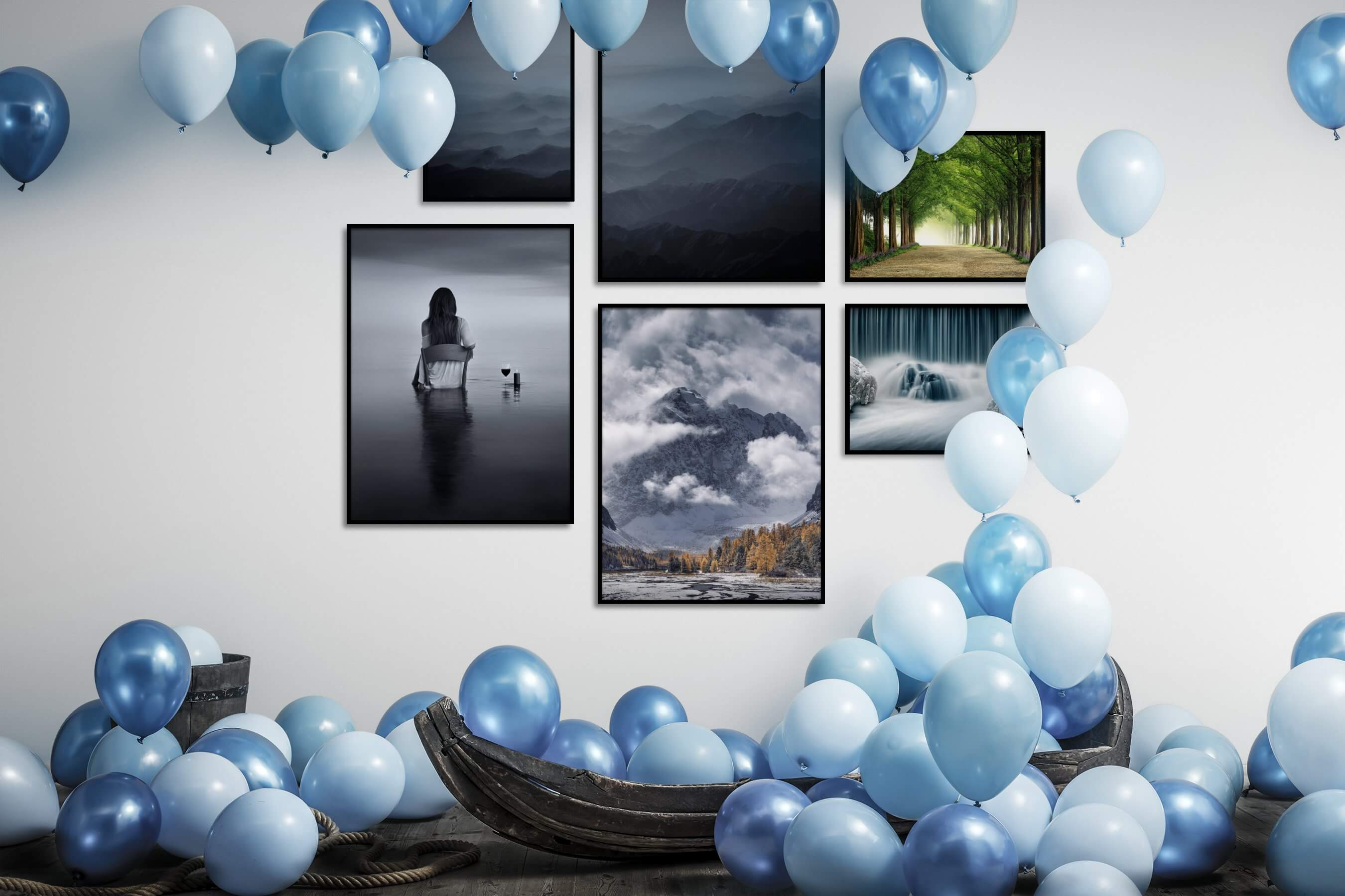 Gallery wall idea with six framed pictures arranged on a wall depicting Nature, Mindfulness, For the Moderate, Black & White, For the Minimalist, Beach & Water, and Country Life