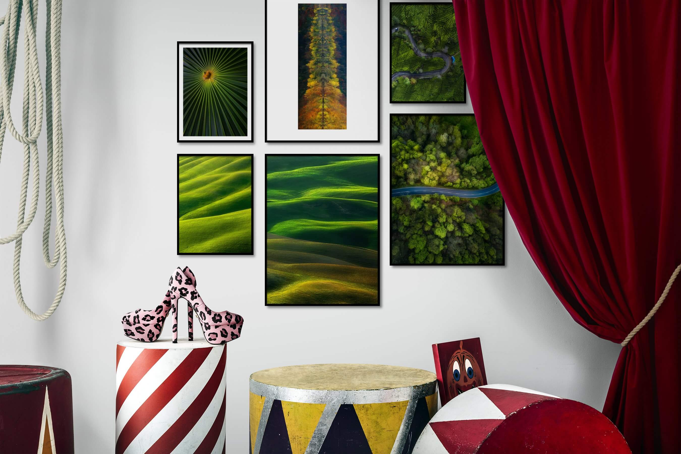 Gallery wall idea with six framed pictures arranged on a wall depicting For the Moderate, Flowers & Plants, Nature, and Country Life