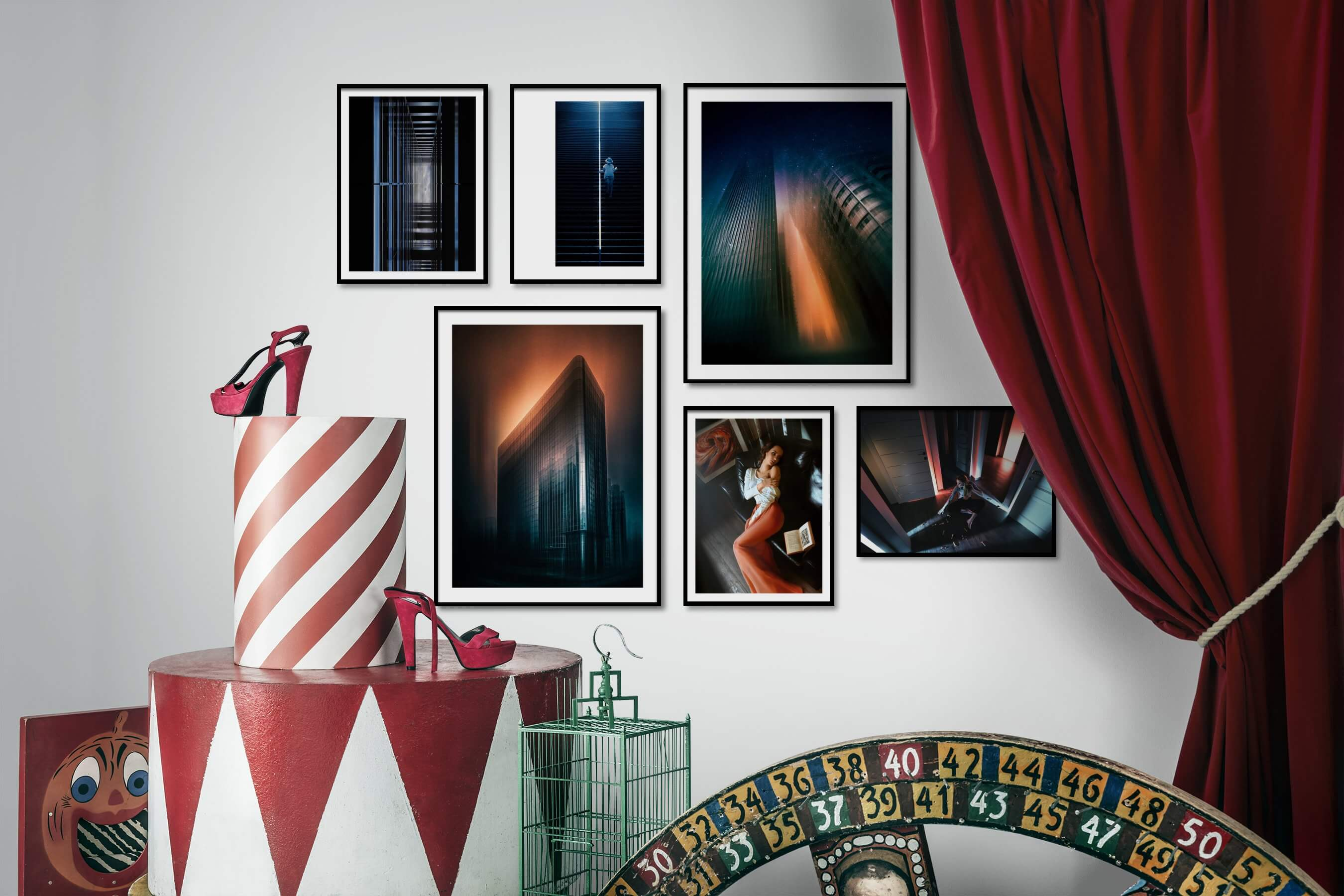 Gallery wall idea with six framed pictures arranged on a wall depicting For the Moderate, Artsy, City Life, and Fashion & Beauty
