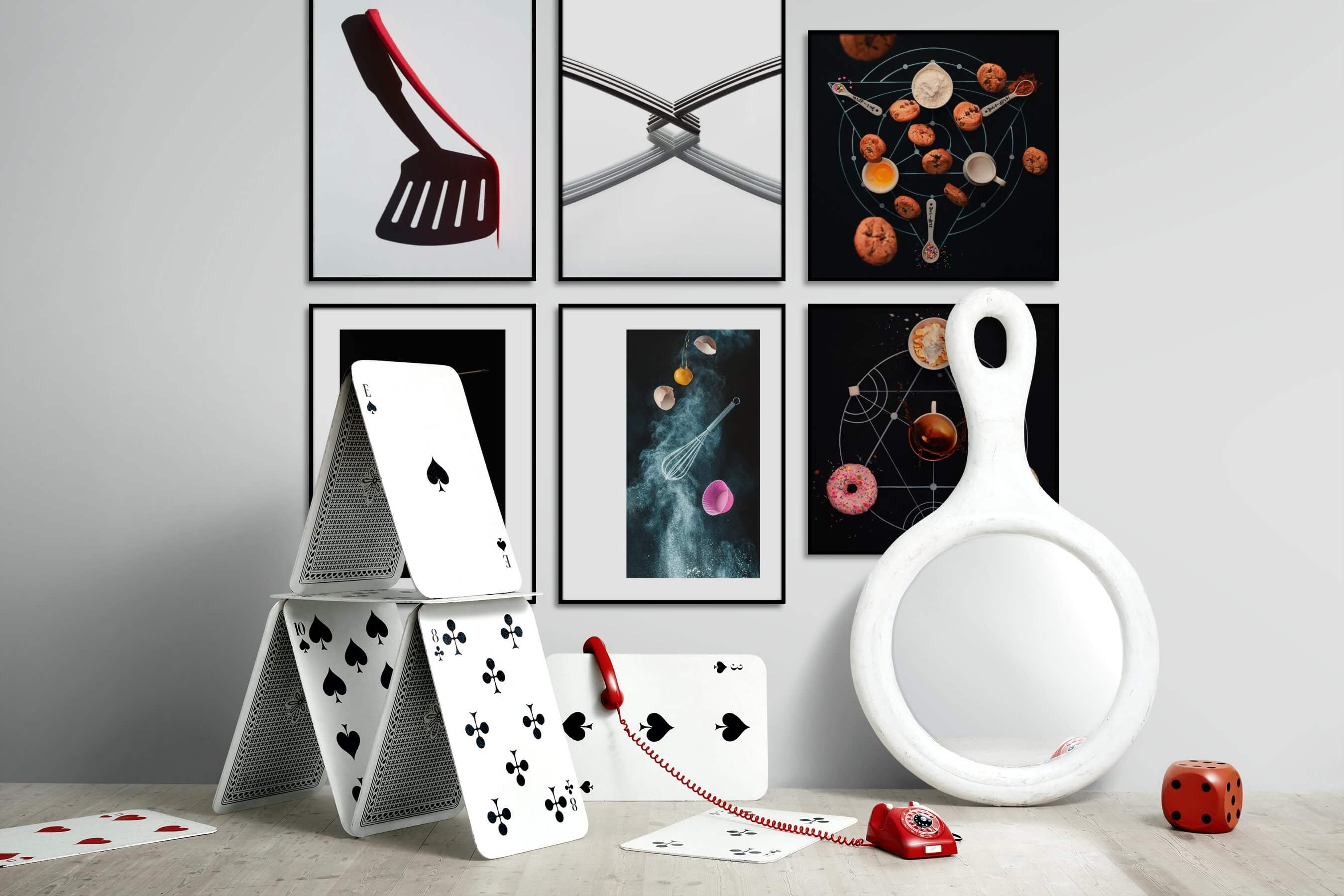 Gallery wall idea with six framed pictures arranged on a wall depicting Bright Tones, For the Minimalist, Black & White, For the Moderate, and Dark Tones