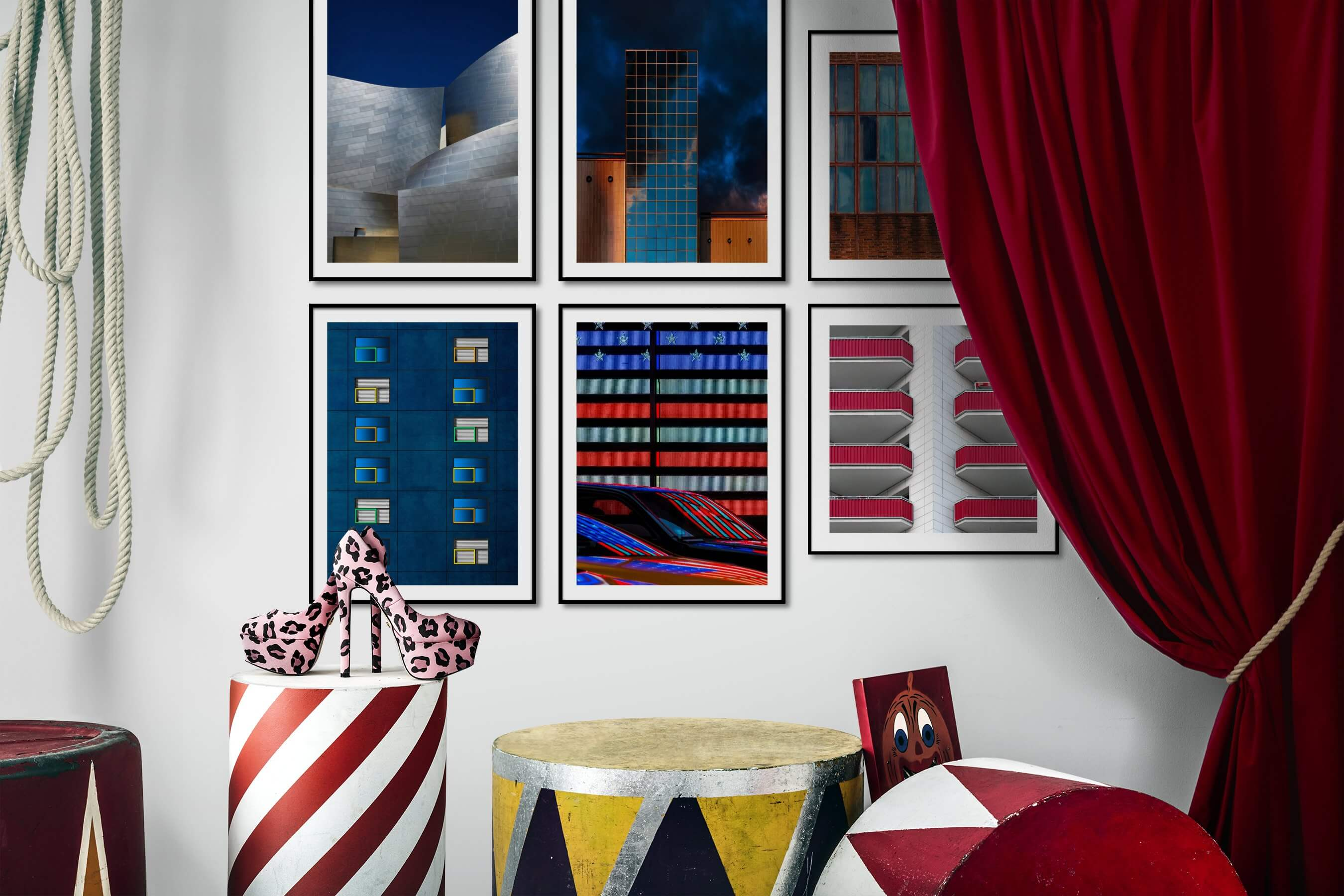 Gallery wall idea with six framed pictures arranged on a wall depicting For the Minimalist, City Life, For the Moderate, For the Maximalist, and Americana
