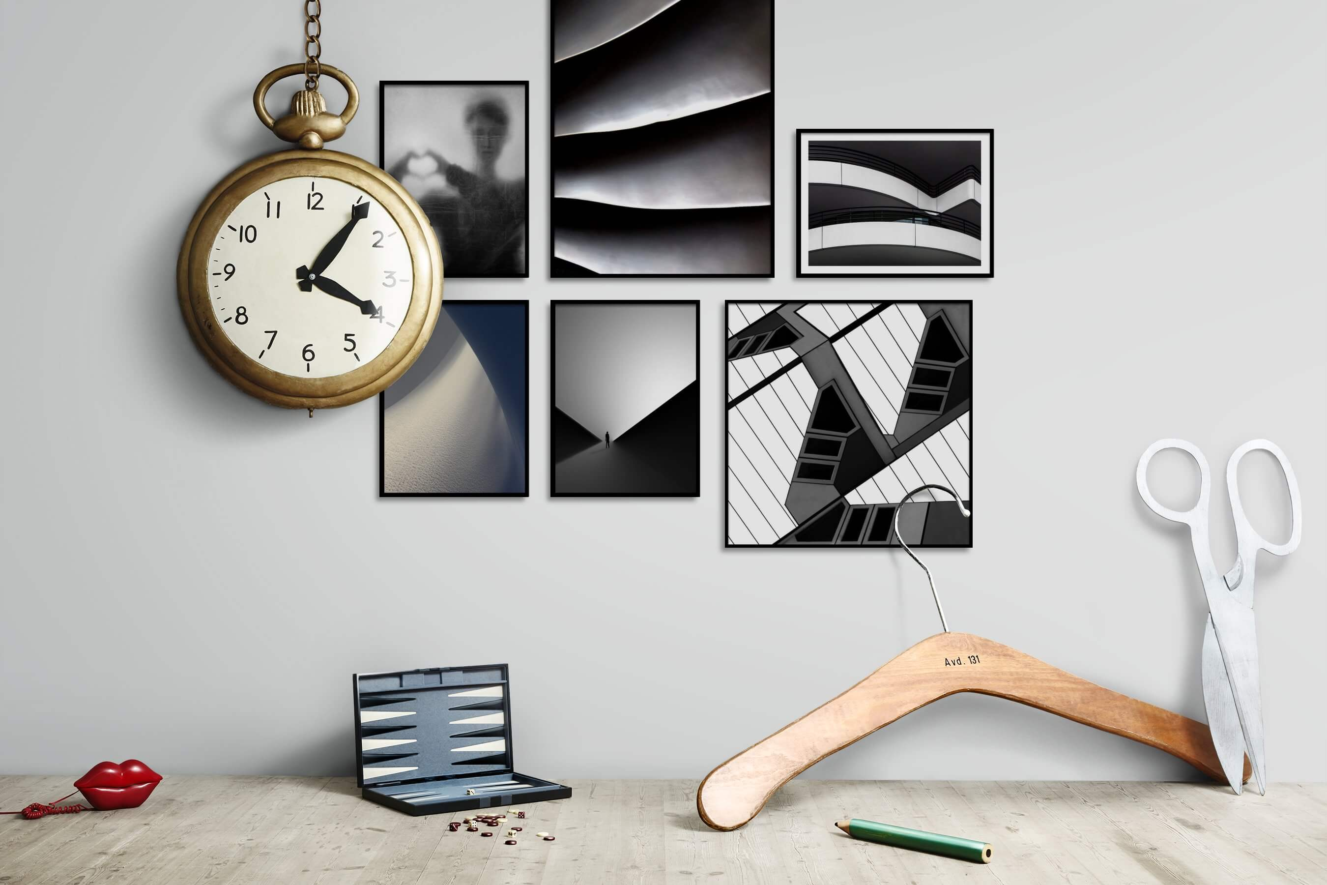 Gallery wall idea with six framed pictures arranged on a wall depicting Artsy, Black & White, For the Moderate, For the Minimalist, Nature, and City Life