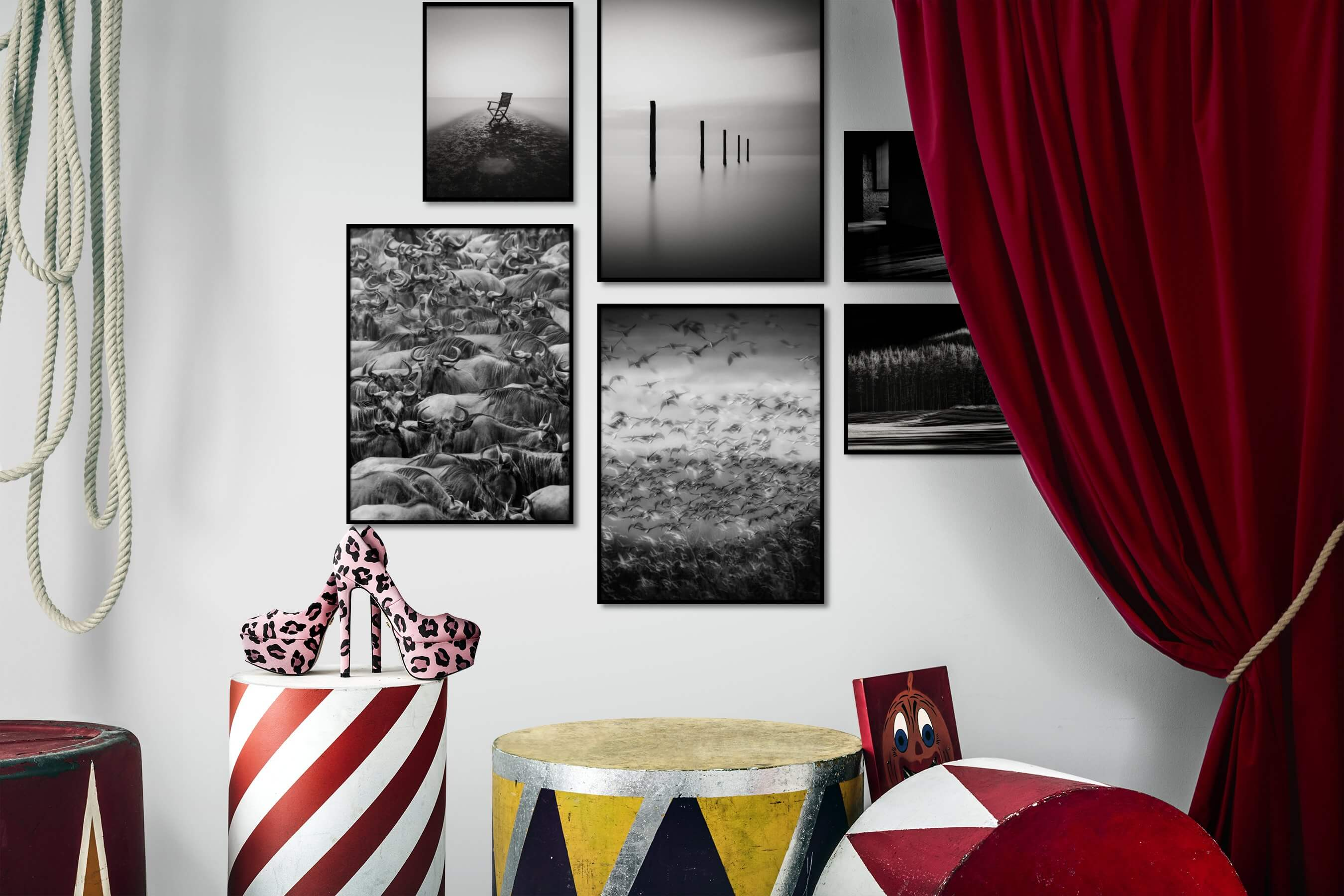Gallery wall idea with six framed pictures arranged on a wall depicting Black & White, For the Minimalist, Mindfulness, For the Maximalist, Animals, For the Moderate, Fashion & Beauty, and Nature