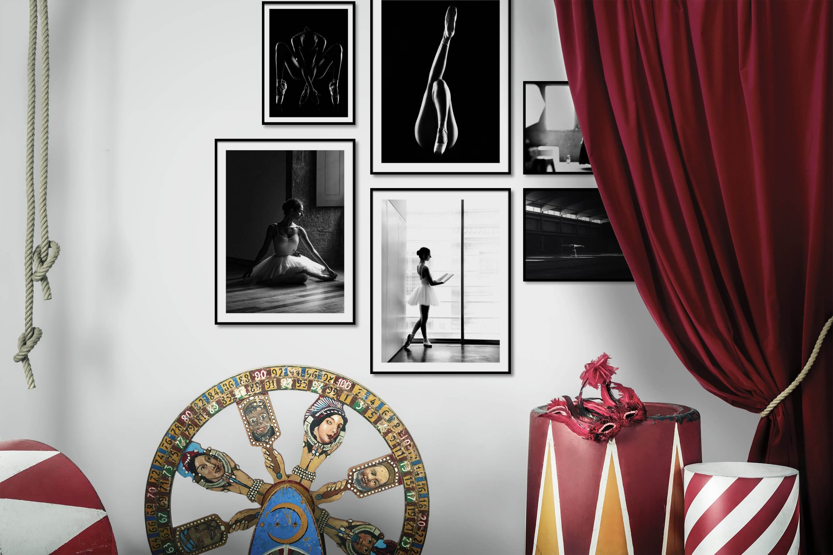 Gallery wall idea with six framed pictures arranged on a wall depicting Fashion & Beauty, Black & White, For the Minimalist, and Dark Tones