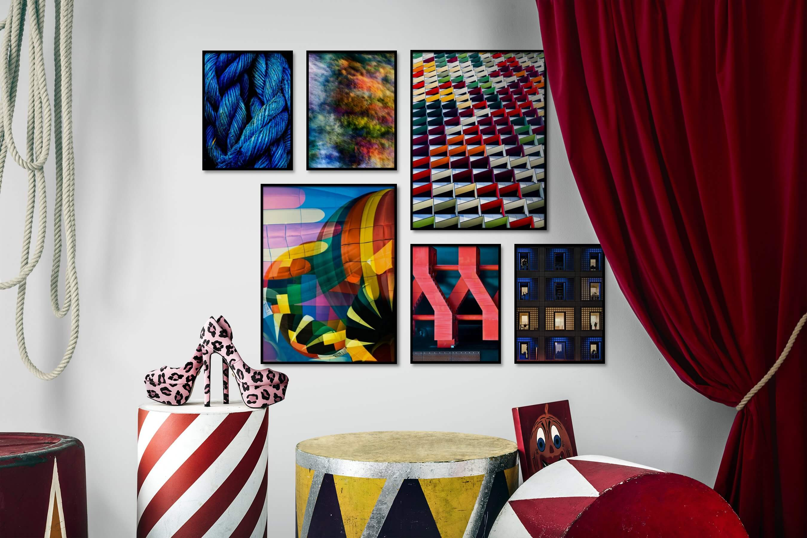 Gallery wall idea with six framed pictures arranged on a wall depicting Colorful, For the Maximalist, Nature, and City Life
