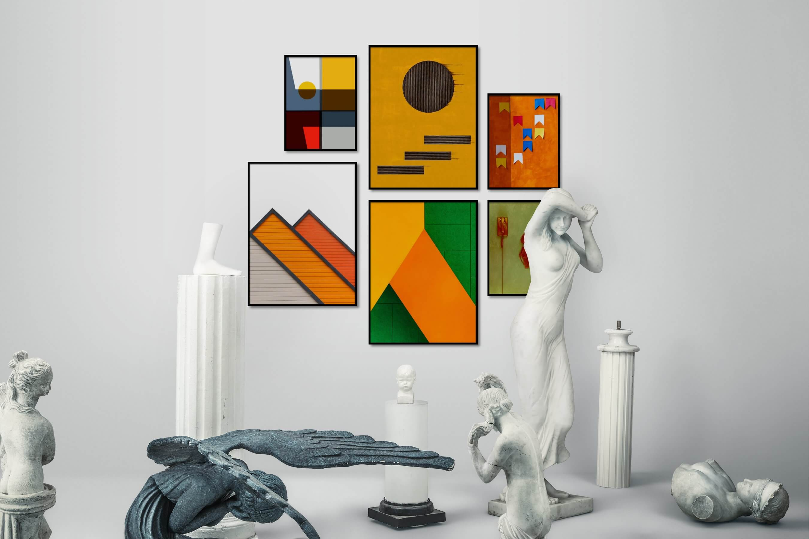 Gallery wall idea with six framed pictures arranged on a wall depicting Colorful, For the Maximalist, For the Minimalist, Bright Tones, For the Moderate, Artsy, and Vintage