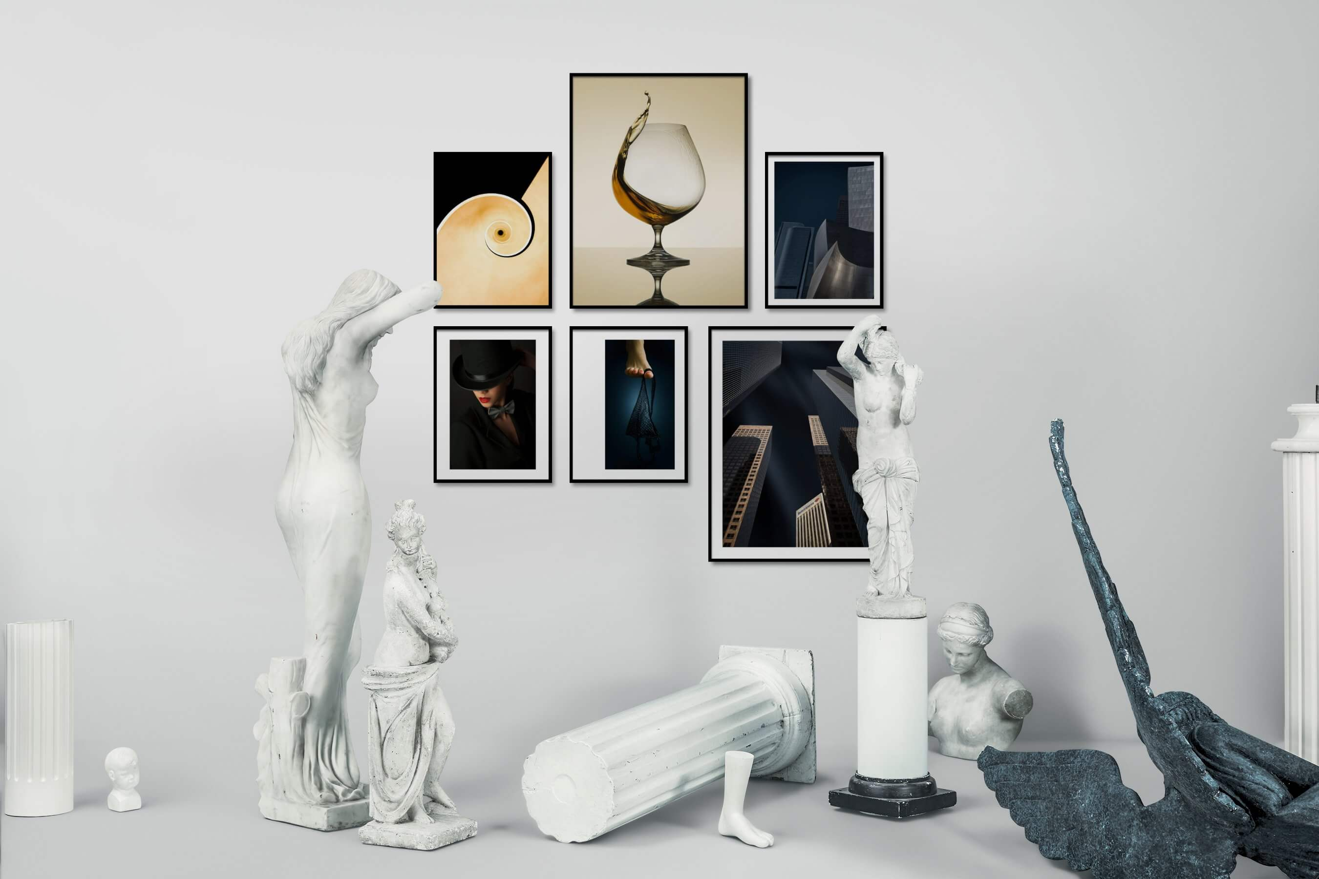Gallery wall idea with six framed pictures arranged on a wall depicting For the Minimalist, Fashion & Beauty, For the Moderate, City Life, and Americana