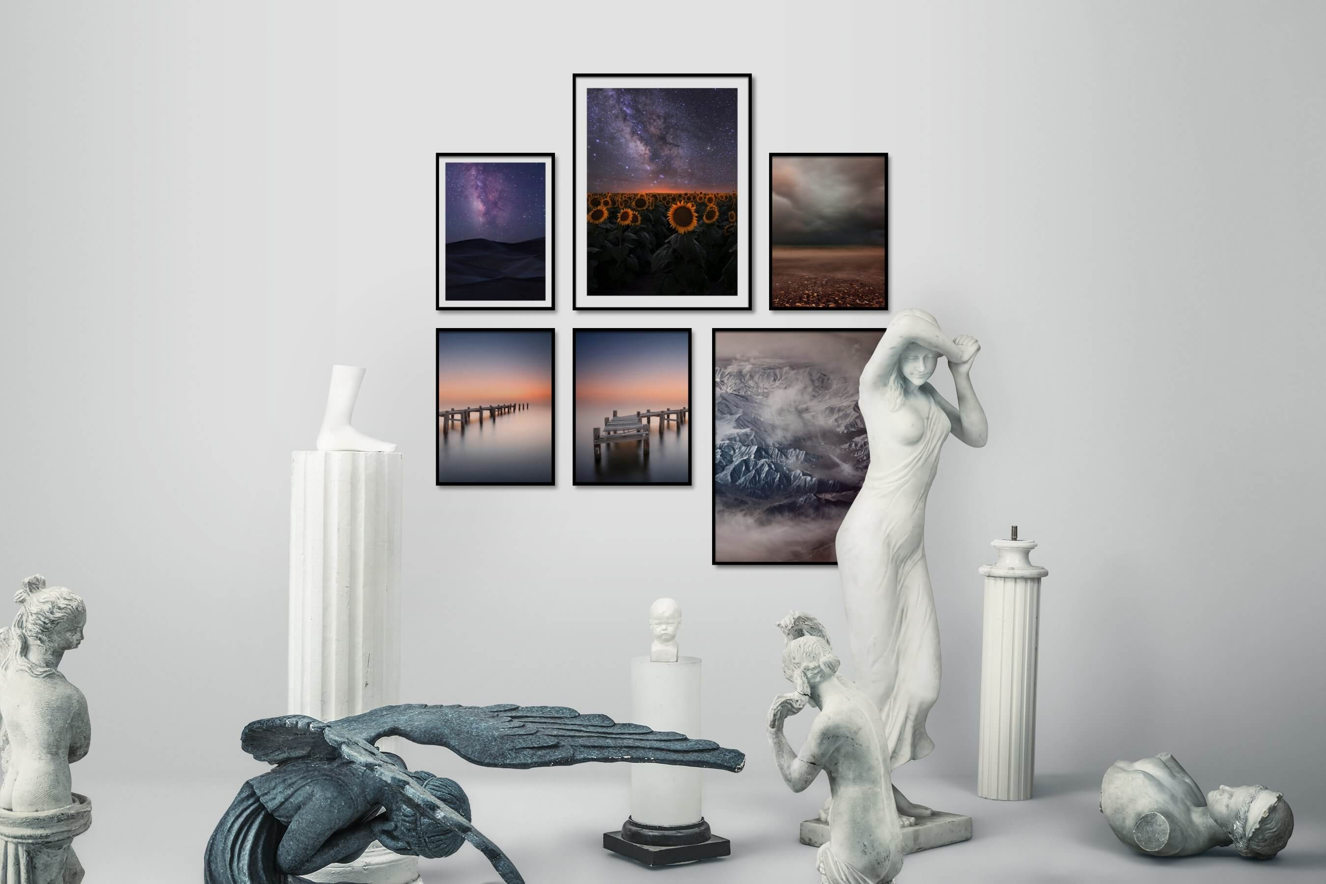 Gallery wall idea with six framed pictures arranged on a wall depicting Nature, Flowers & Plants, Country Life, For the Minimalist, Beach & Water, Mindfulness, and For the Moderate