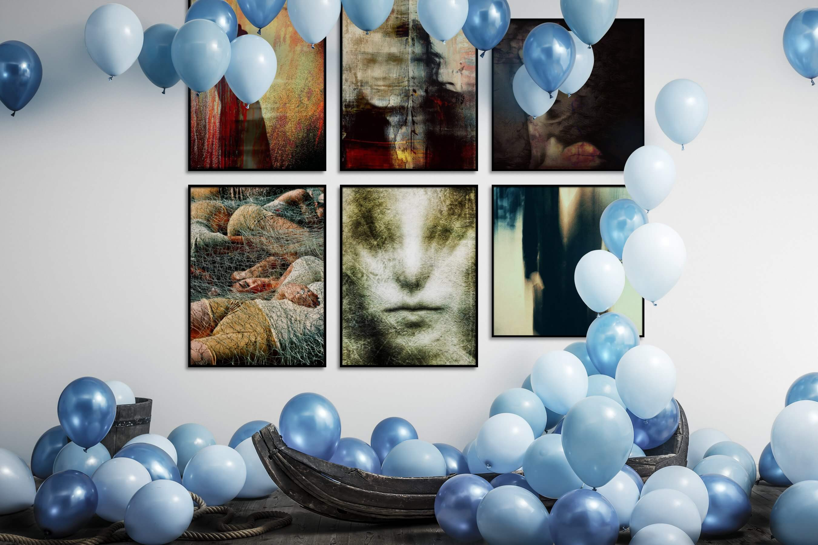 Gallery wall idea with six framed pictures arranged on a wall depicting Artsy and For the Maximalist