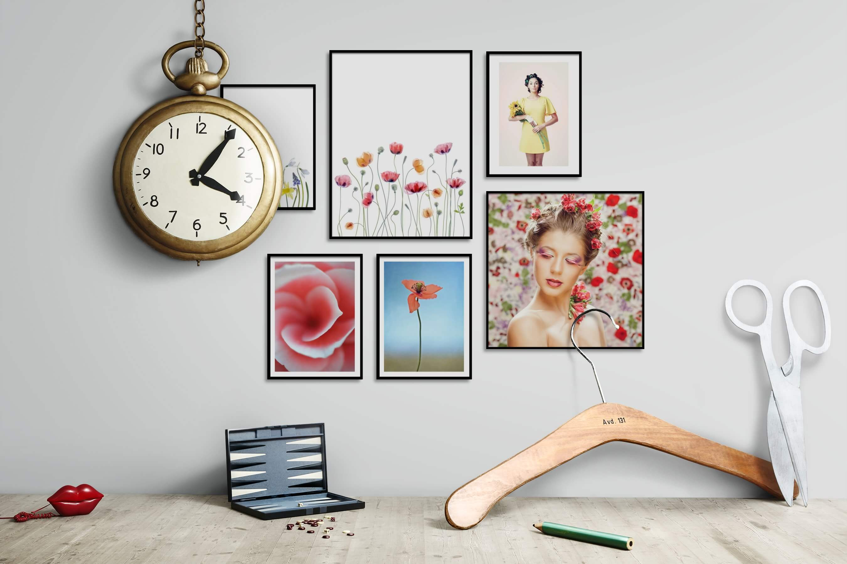 Gallery wall idea with six framed pictures arranged on a wall depicting Bright Tones, For the Minimalist, Flowers & Plants, For the Moderate, and Fashion & Beauty
