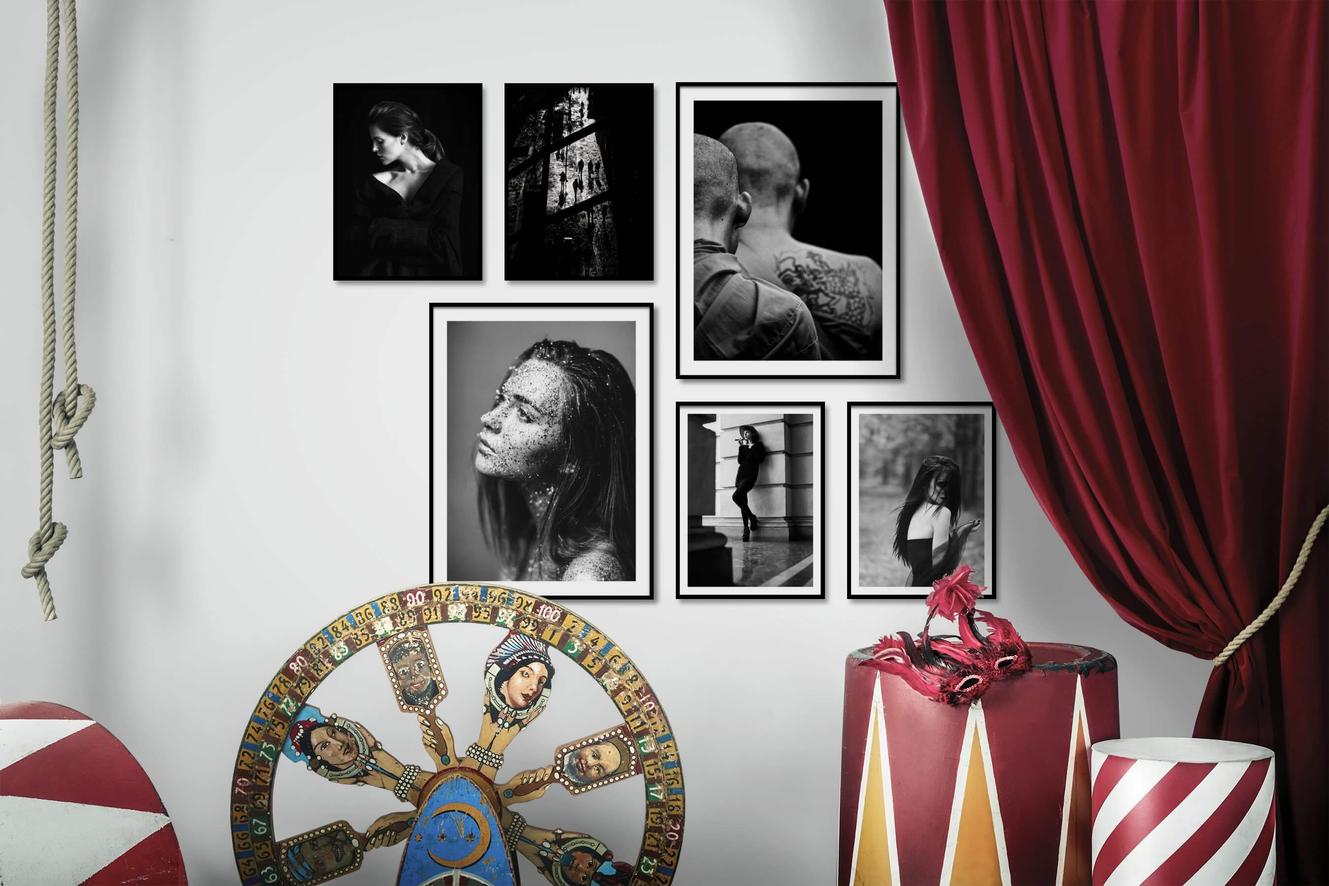 Gallery wall idea with six framed pictures arranged on a wall depicting Fashion & Beauty, Black & White, Dark Tones, For the Minimalist, City Life, and Artsy