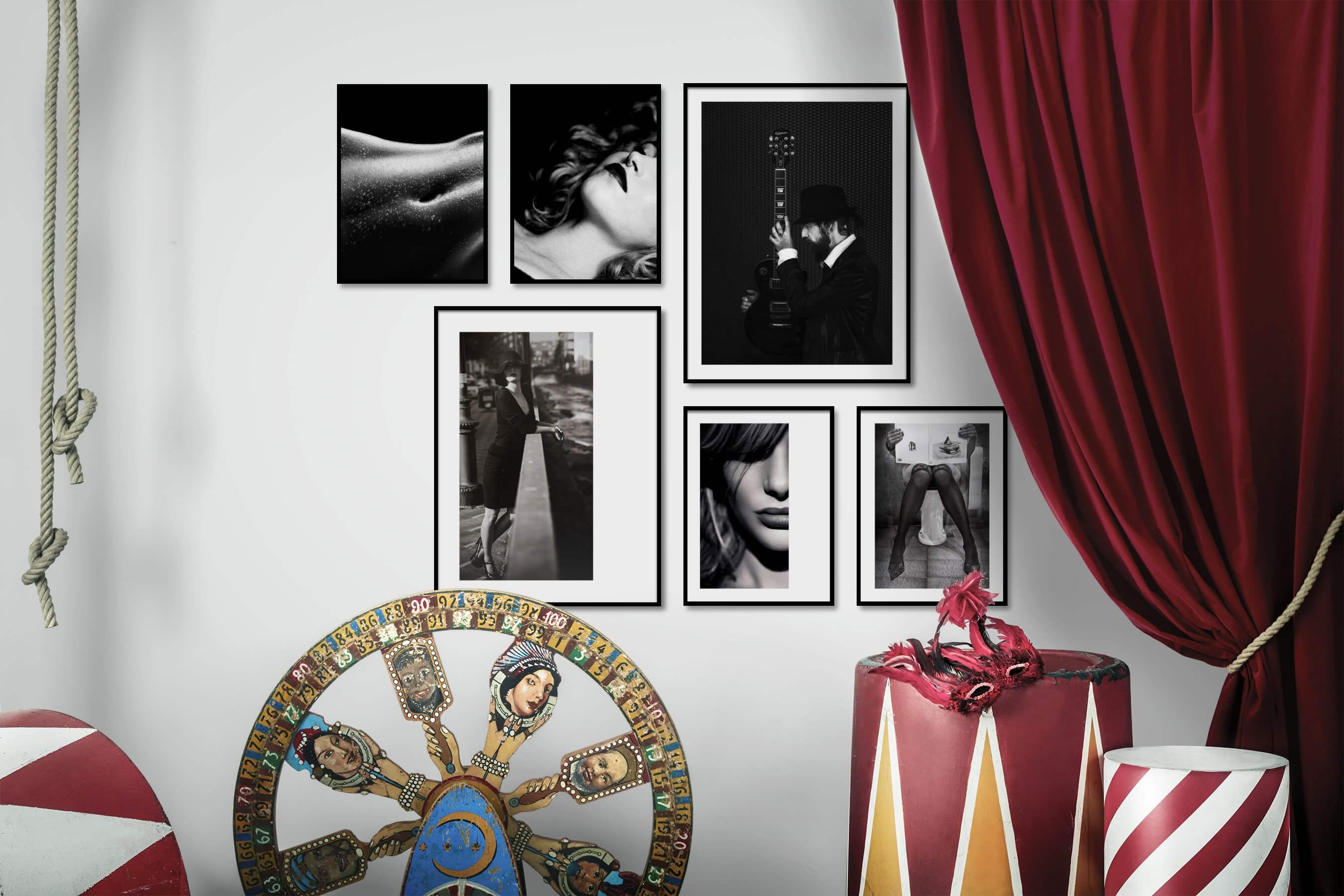 Gallery wall idea with six framed pictures arranged on a wall depicting Fashion & Beauty, Black & White, Dark Tones, City Life, Vintage, and For the Moderate