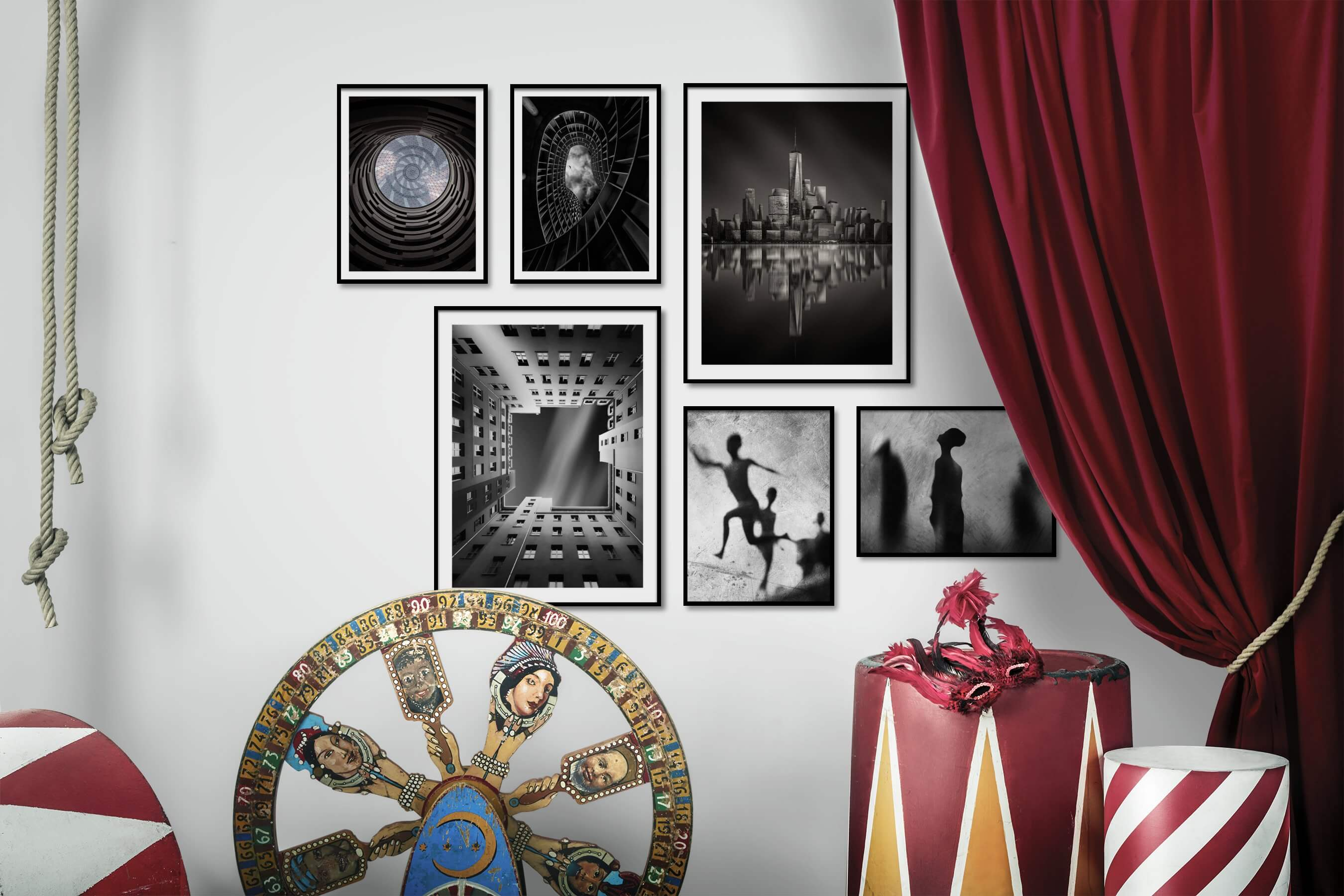 Gallery wall idea with six framed pictures arranged on a wall depicting For the Moderate, Black & White, City Life, Americana, and Artsy