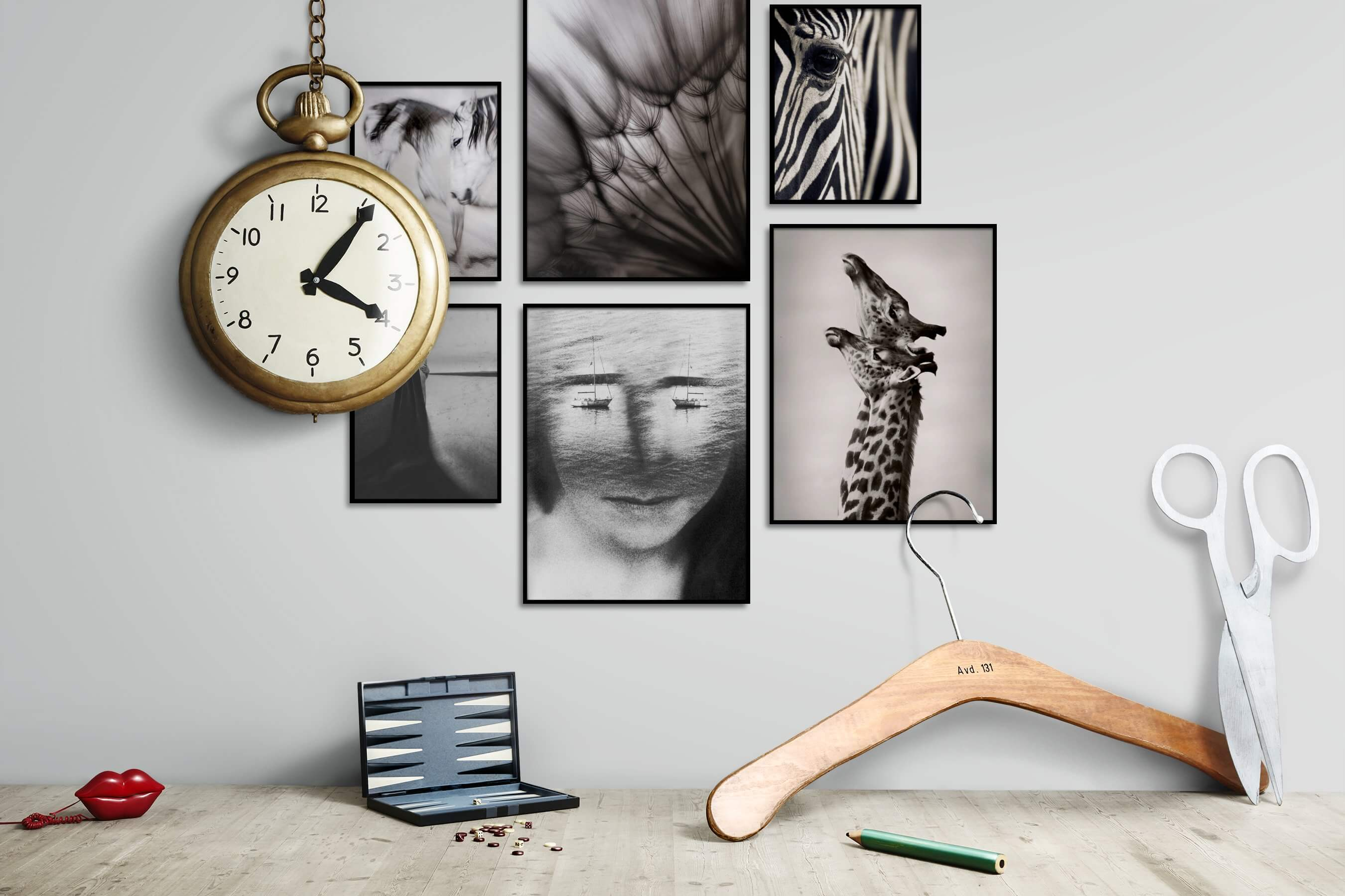 Gallery wall idea with six framed pictures arranged on a wall depicting Animals, Country Life, For the Moderate, Flowers & Plants, Mindfulness, Artsy, Black & White, and Vintage