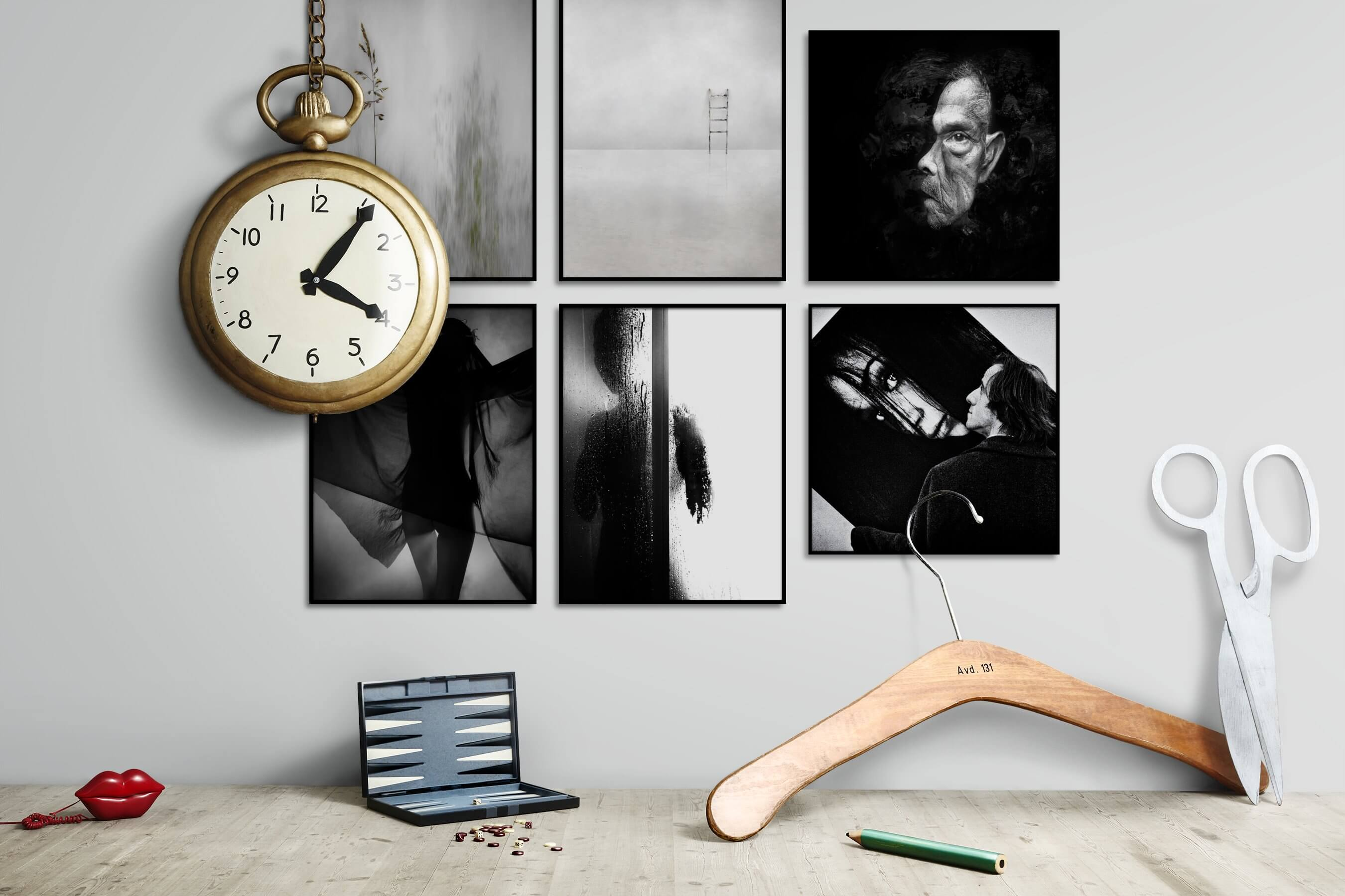 Gallery wall idea with six framed pictures arranged on a wall depicting For the Minimalist, Flowers & Plants, Fashion & Beauty, Black & White, Artsy, Dark Tones, and For the Moderate
