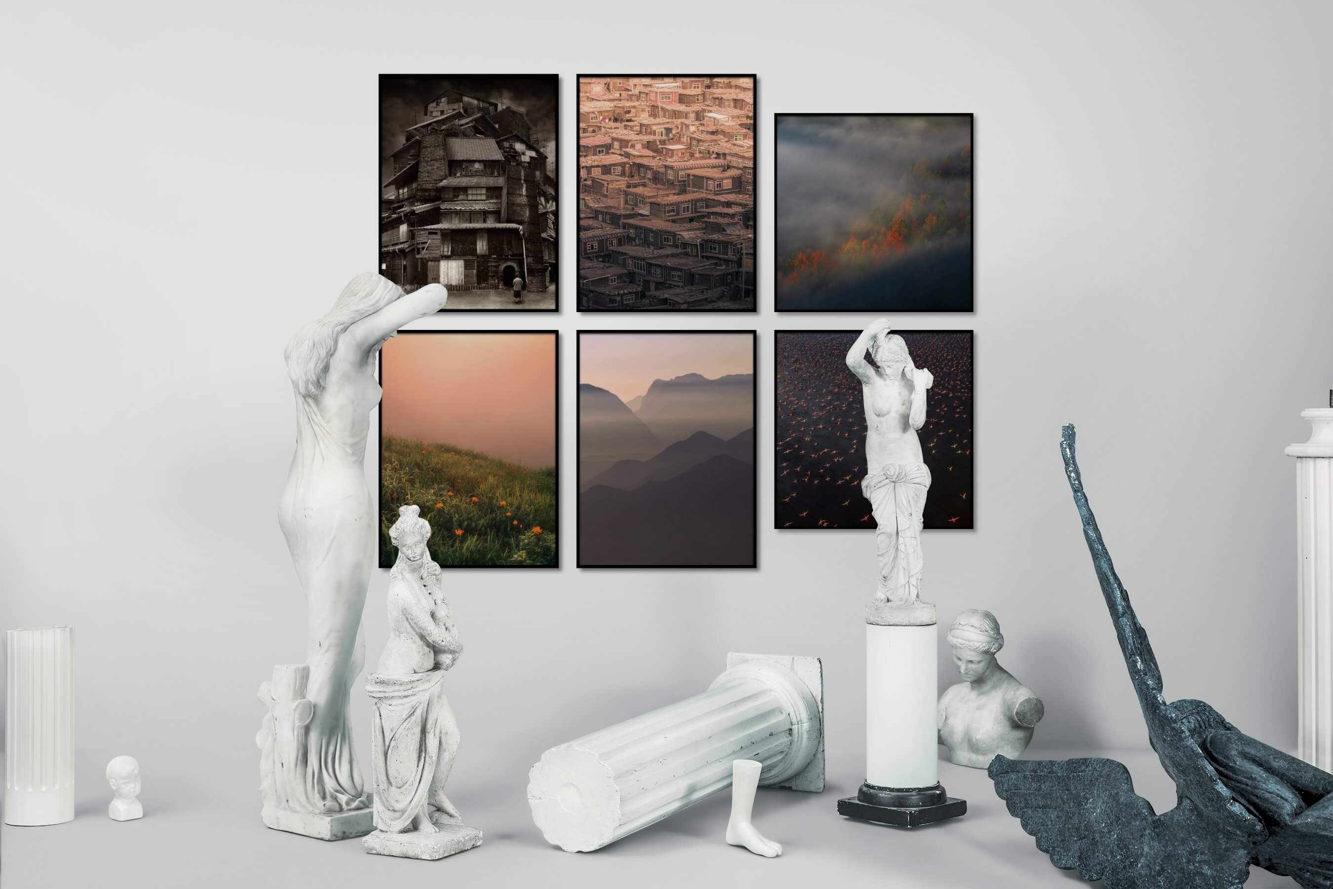 Gallery wall idea with six framed pictures arranged on a wall depicting Artsy, Black & White, City Life, For the Maximalist, Flowers & Plants, Country Life, Mindfulness, Nature, For the Moderate, and Animals