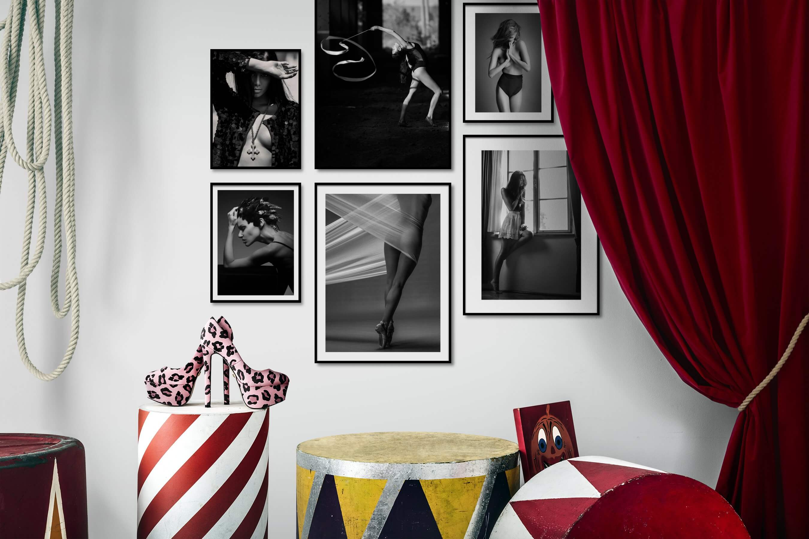 Gallery wall idea with six framed pictures arranged on a wall depicting Fashion & Beauty, Black & White, Vintage, Dark Tones, and For the Moderate