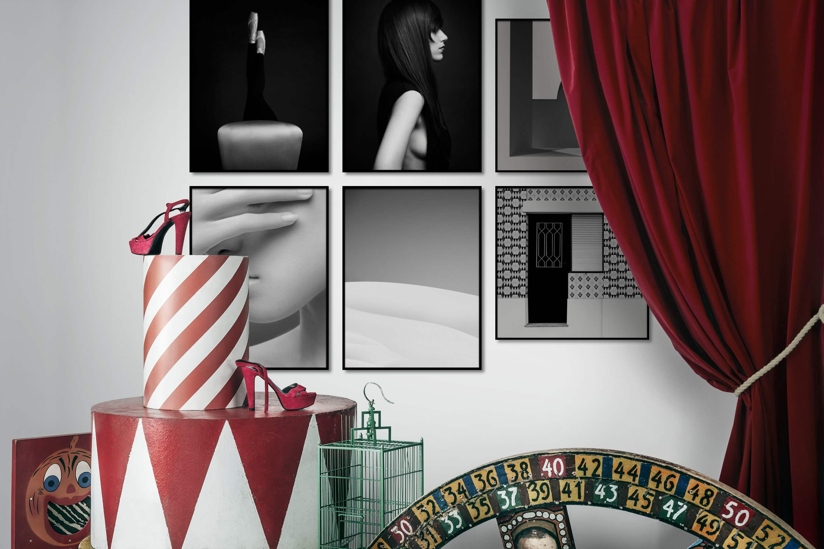 Gallery wall idea with six framed pictures arranged on a wall depicting Fashion & Beauty, Black & White, Dark Tones, For the Minimalist, For the Moderate, Nature, and For the Maximalist