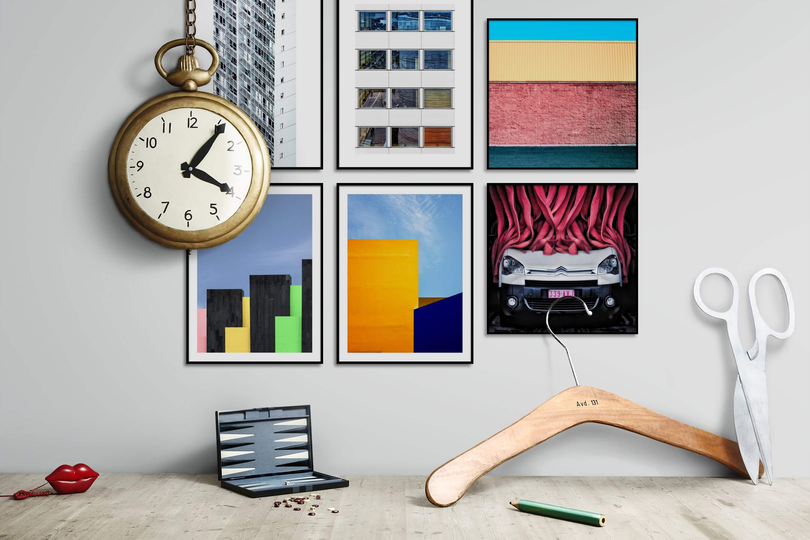 Gallery wall idea with six framed pictures arranged on a wall depicting For the Moderate, City Life, For the Minimalist, and Colorful