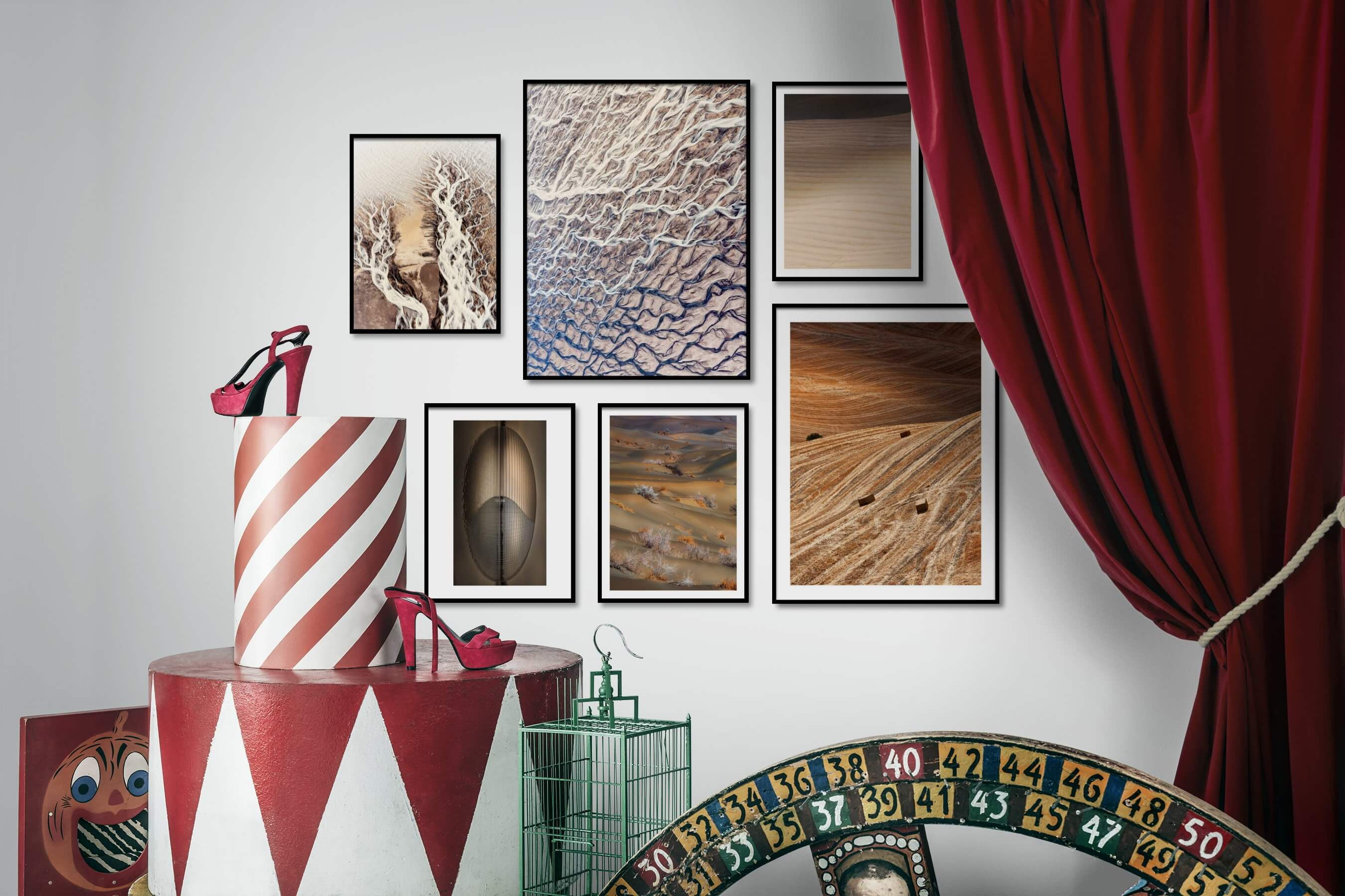 Gallery wall idea with six framed pictures arranged on a wall depicting For the Moderate, Nature, For the Maximalist, For the Minimalist, and Country Life