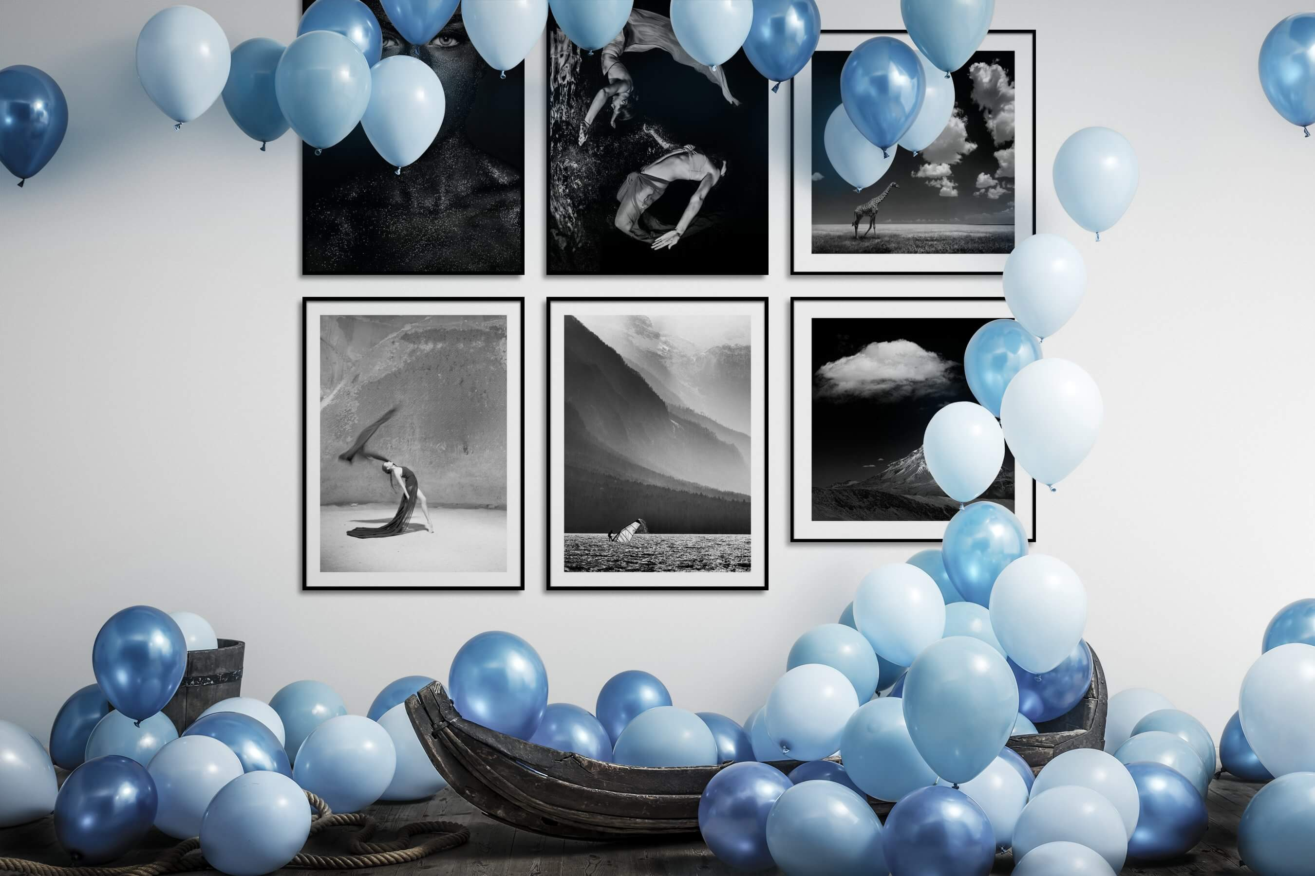Gallery wall idea with six framed pictures arranged on a wall depicting Fashion & Beauty, Black & White, Dark Tones, Beach & Water, Nature, and Animals