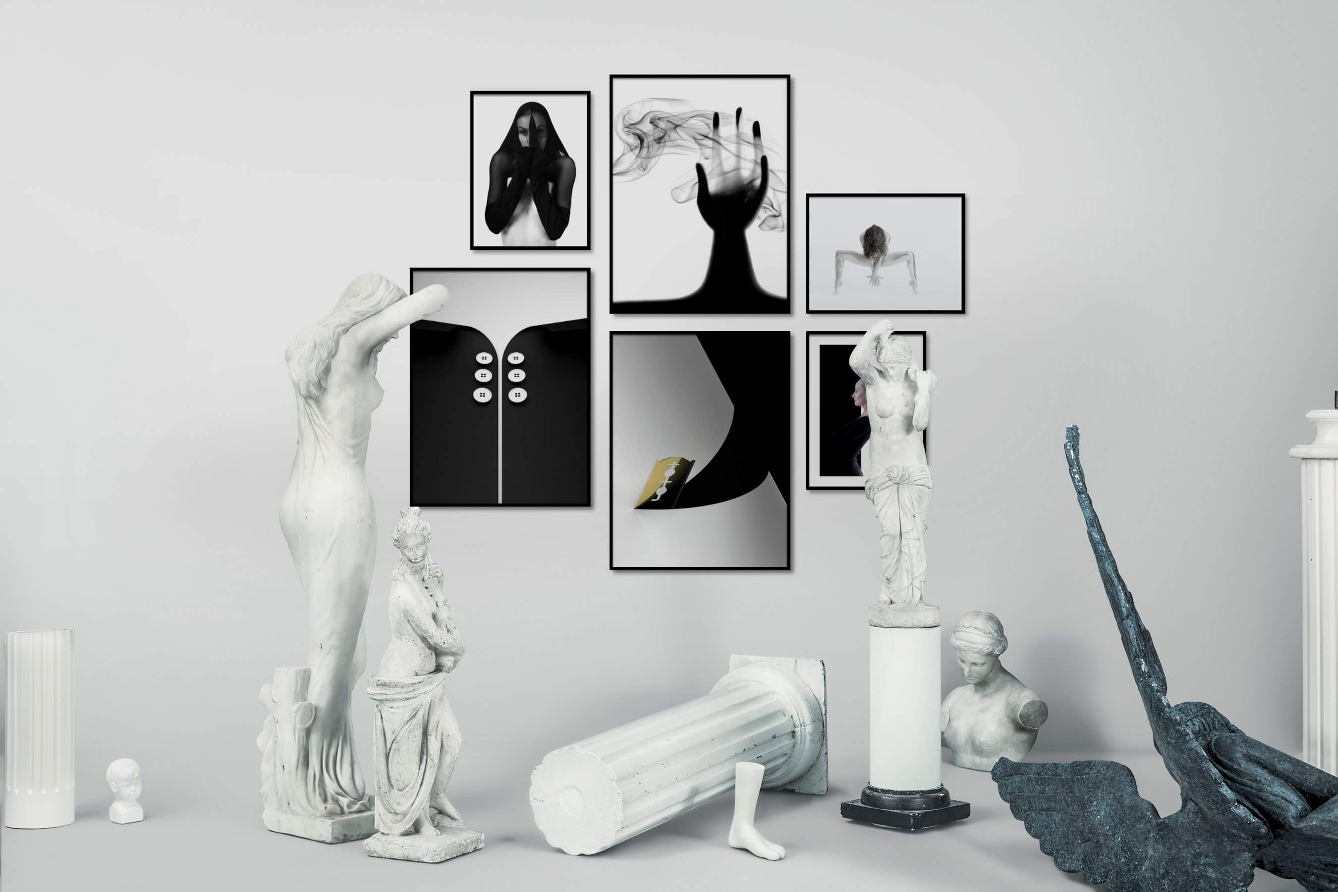 Gallery wall idea with six framed pictures arranged on a wall depicting Artsy, Black & White, Bright Tones, For the Minimalist, and Fashion & Beauty