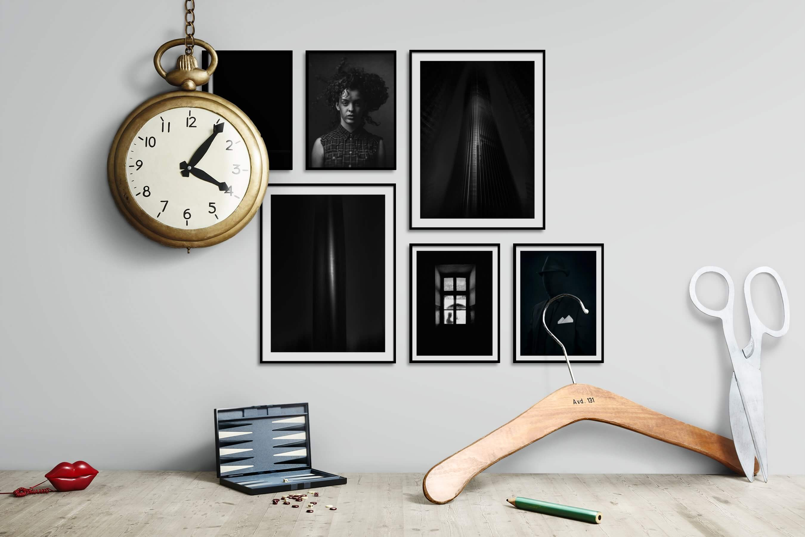 Gallery wall idea with six framed pictures arranged on a wall depicting Artsy, Black & White, Dark Tones, For the Minimalist, Fashion & Beauty, and City Life