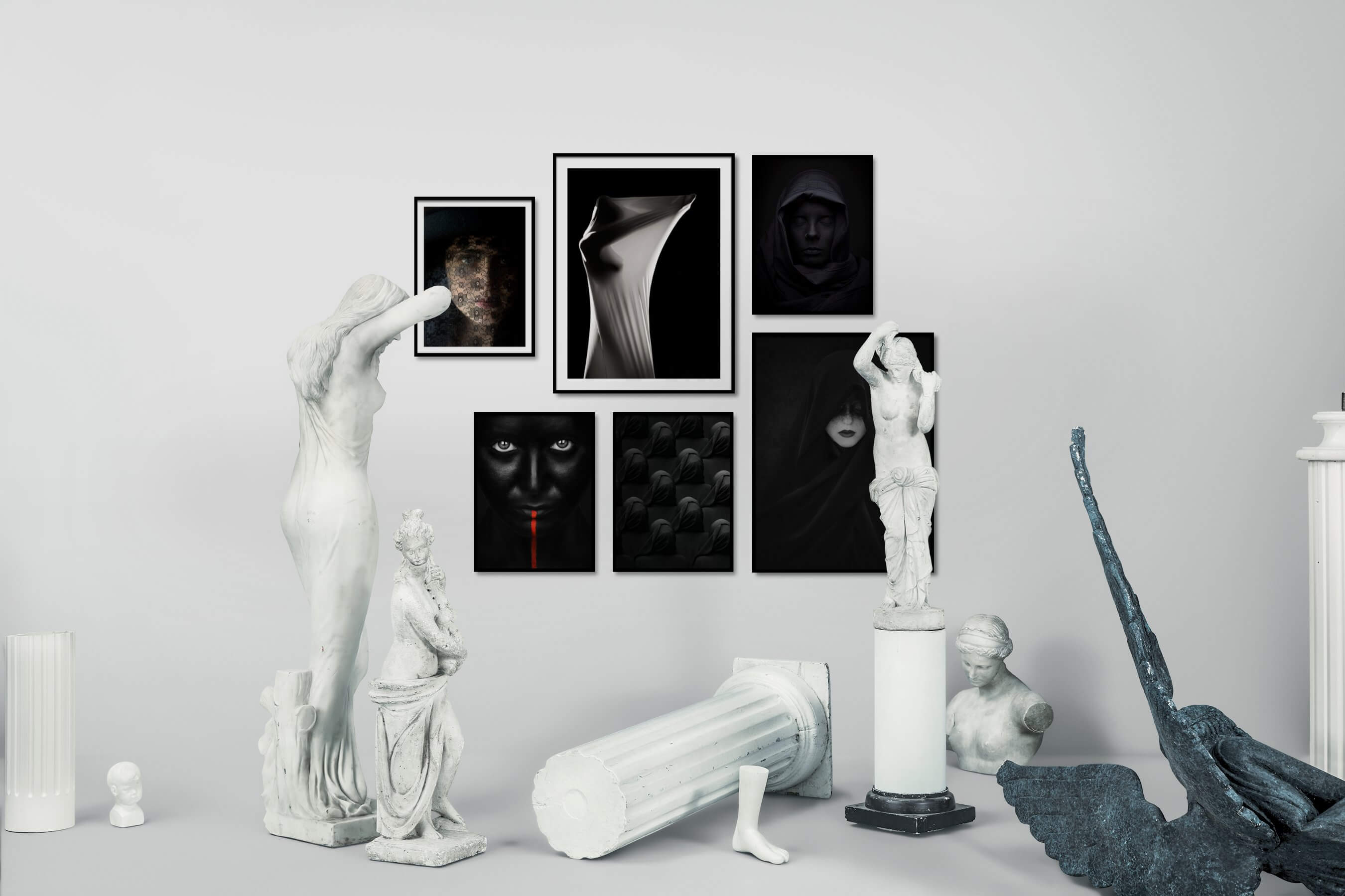 Gallery wall idea with six framed pictures arranged on a wall depicting Fashion & Beauty, For the Moderate, Black & White, For the Minimalist, Bold, Dark Tones, Artsy, and For the Maximalist