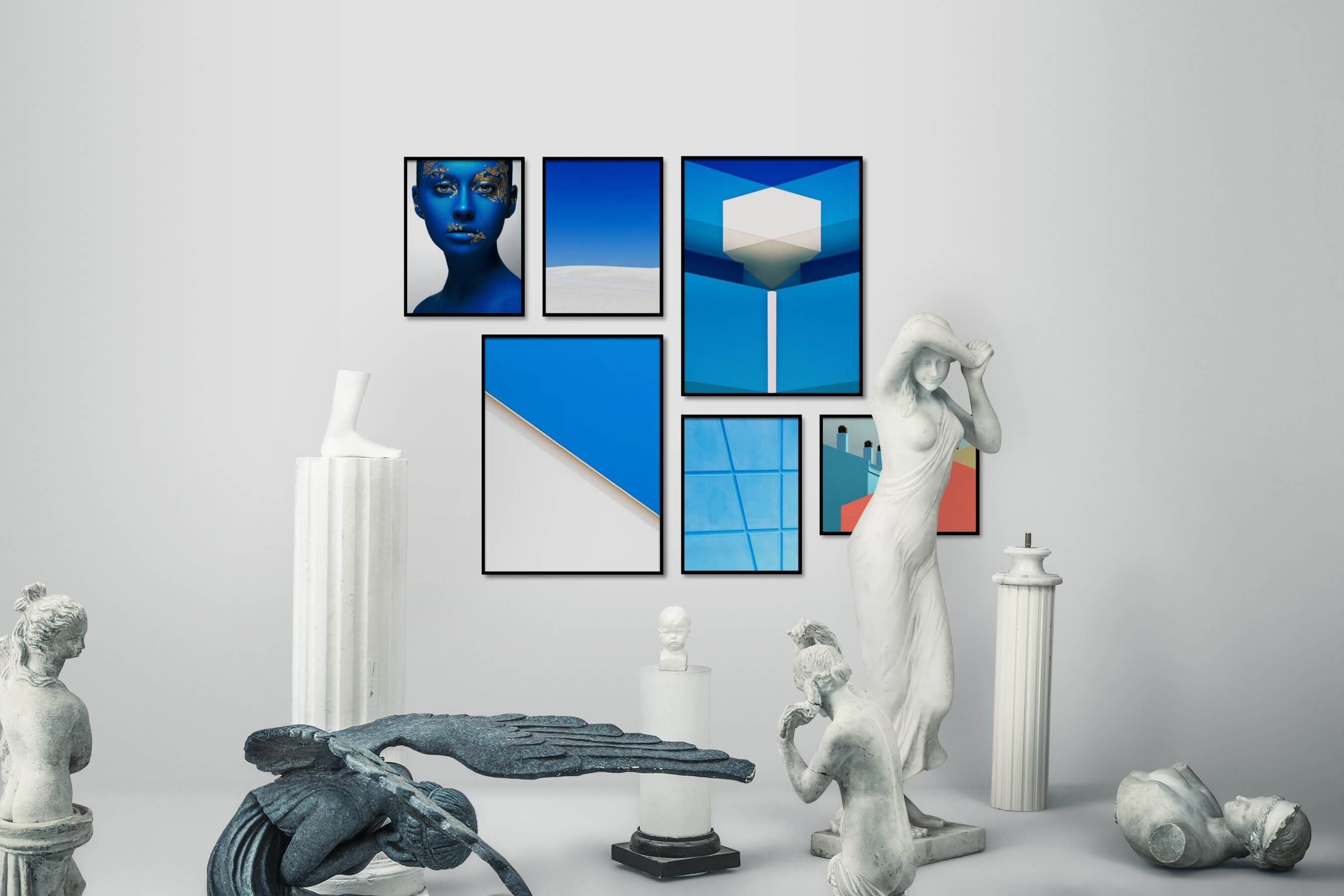 Gallery wall idea with six framed pictures arranged on a wall depicting Fashion & Beauty, Colorful, For the Minimalist, Nature, For the Moderate, and City Life
