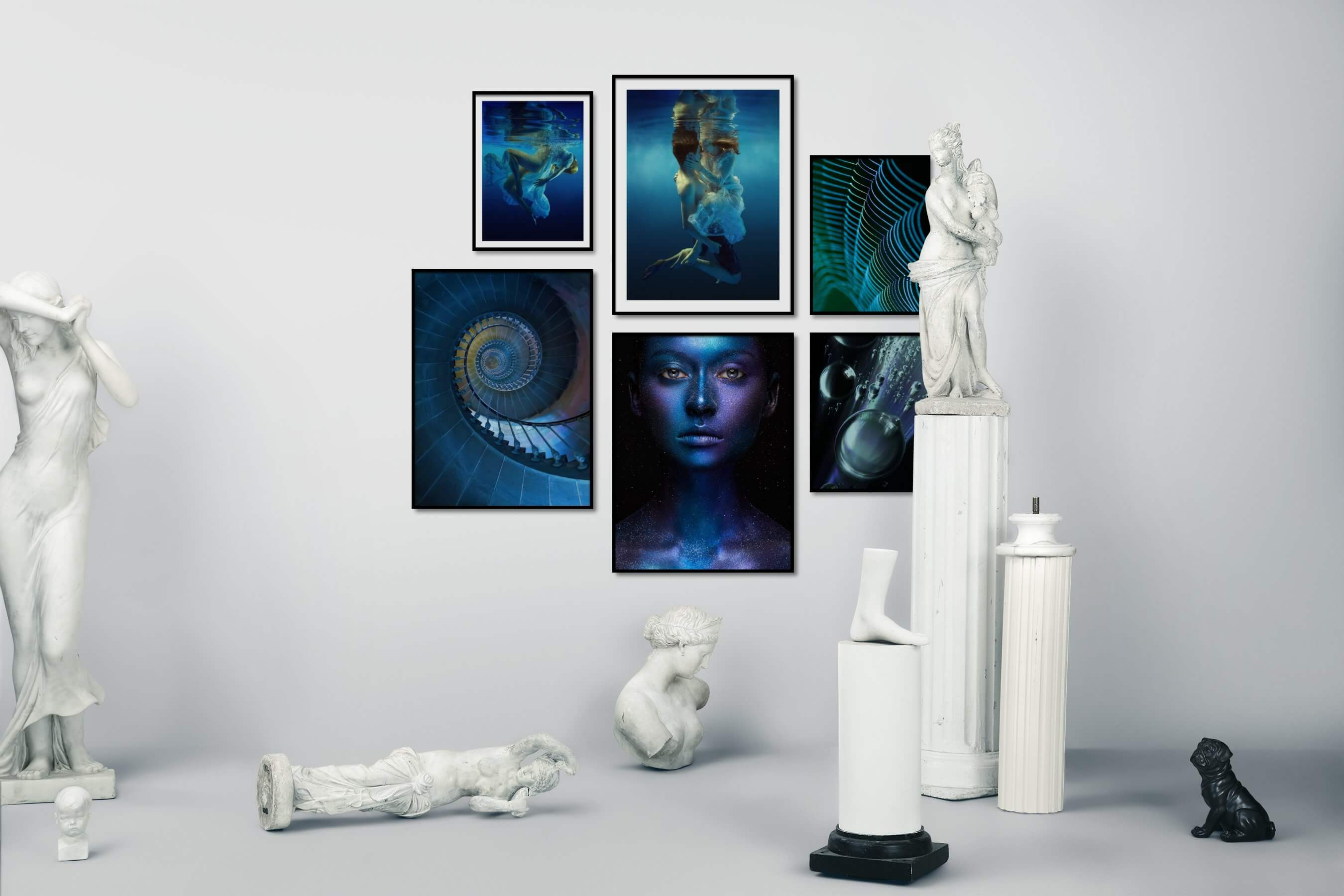 Gallery wall idea with six framed pictures arranged on a wall depicting Fashion & Beauty, Beach & Water, For the Moderate, and Colorful