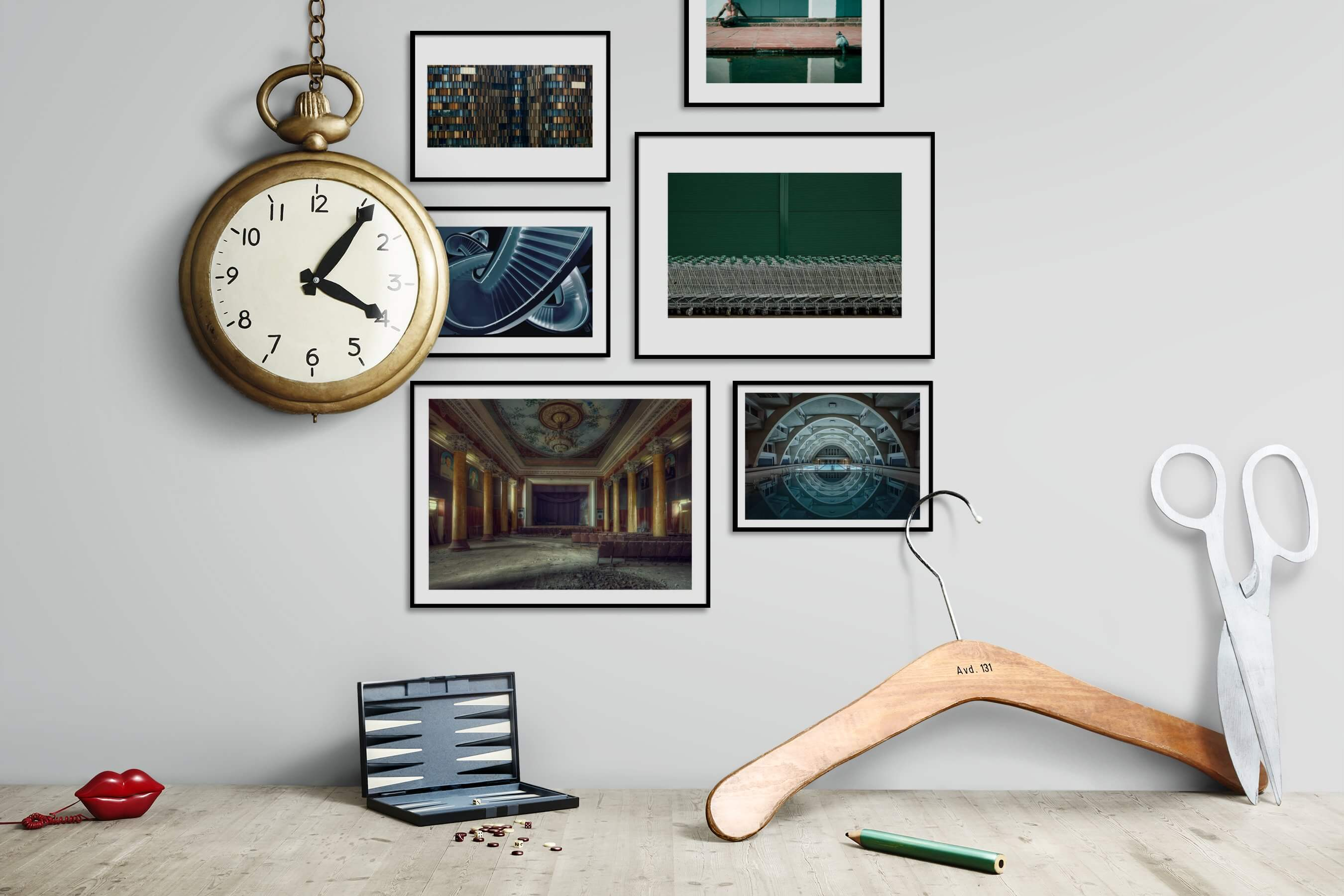 Gallery wall idea with six framed pictures arranged on a wall depicting For the Moderate, City Life, Vintage, For the Maximalist, and Beach & Water