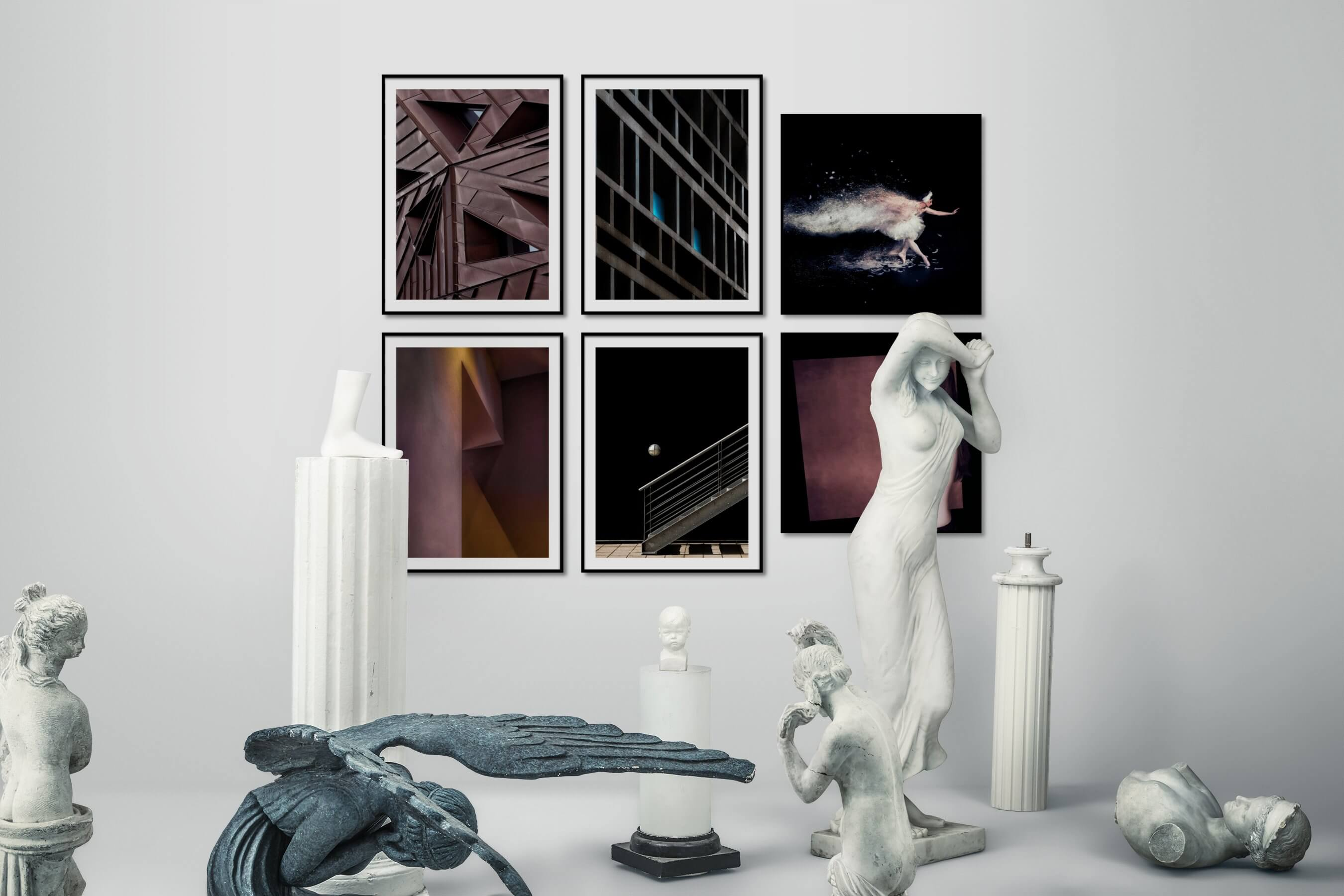 Gallery wall idea with six framed pictures arranged on a wall depicting For the Maximalist, For the Moderate, For the Minimalist, Fashion & Beauty, Artsy, and Dark Tones