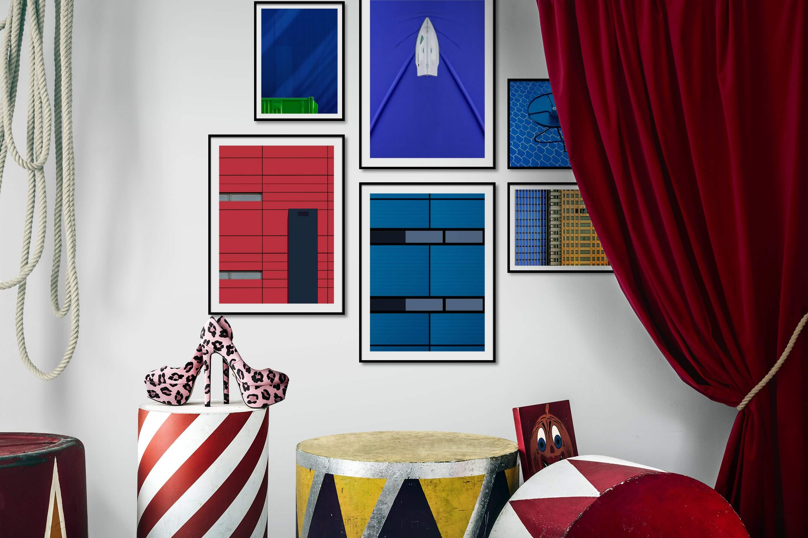 Gallery wall idea with six framed pictures arranged on a wall depicting For the Minimalist, For the Moderate, Colorful, For the Maximalist, and City Life