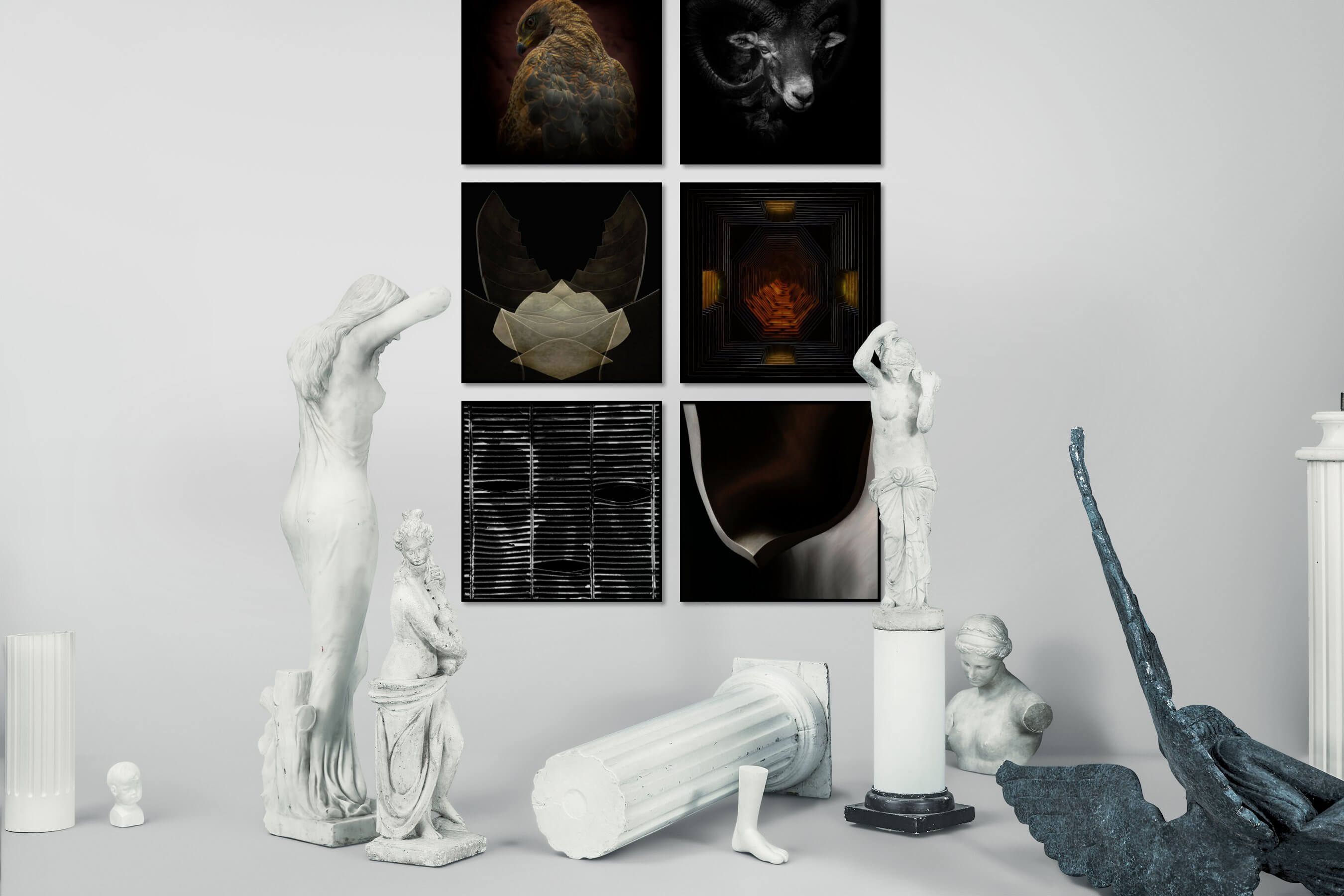 Gallery wall idea with six framed pictures arranged on a wall depicting Dark Tones, Animals, Black & White, For the Minimalist, For the Moderate, and For the Maximalist