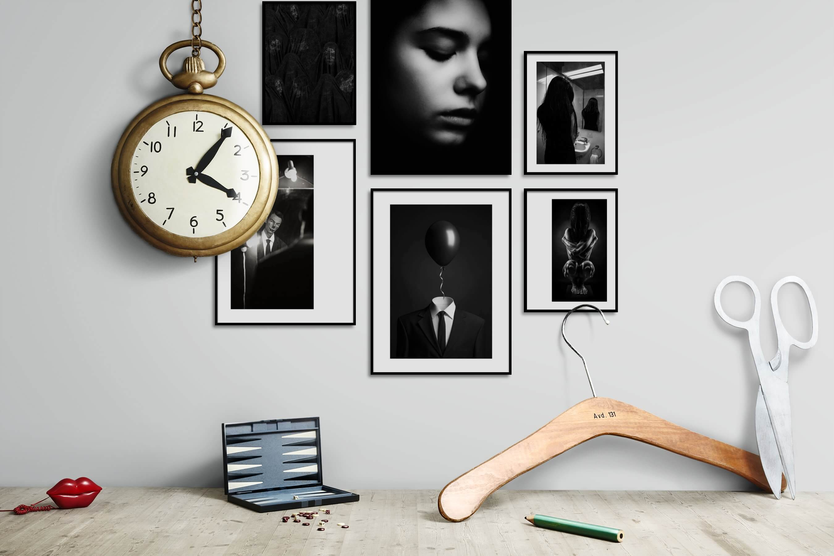 Gallery wall idea with six framed pictures arranged on a wall depicting Artsy, Black & White, For the Moderate, Fashion & Beauty, and Dark Tones