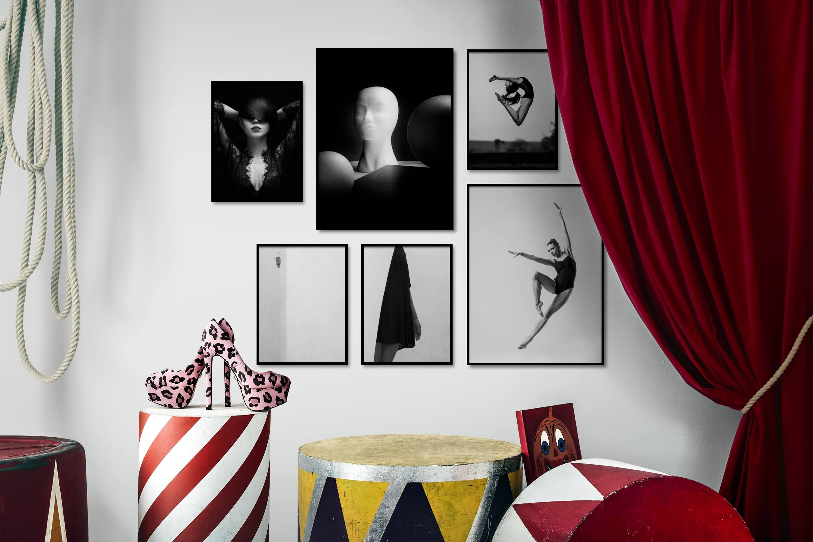 Gallery wall idea with six framed pictures arranged on a wall depicting Fashion & Beauty, Black & White, Dark Tones, Artsy, For the Moderate, For the Minimalist, Mindfulness, and Bright Tones