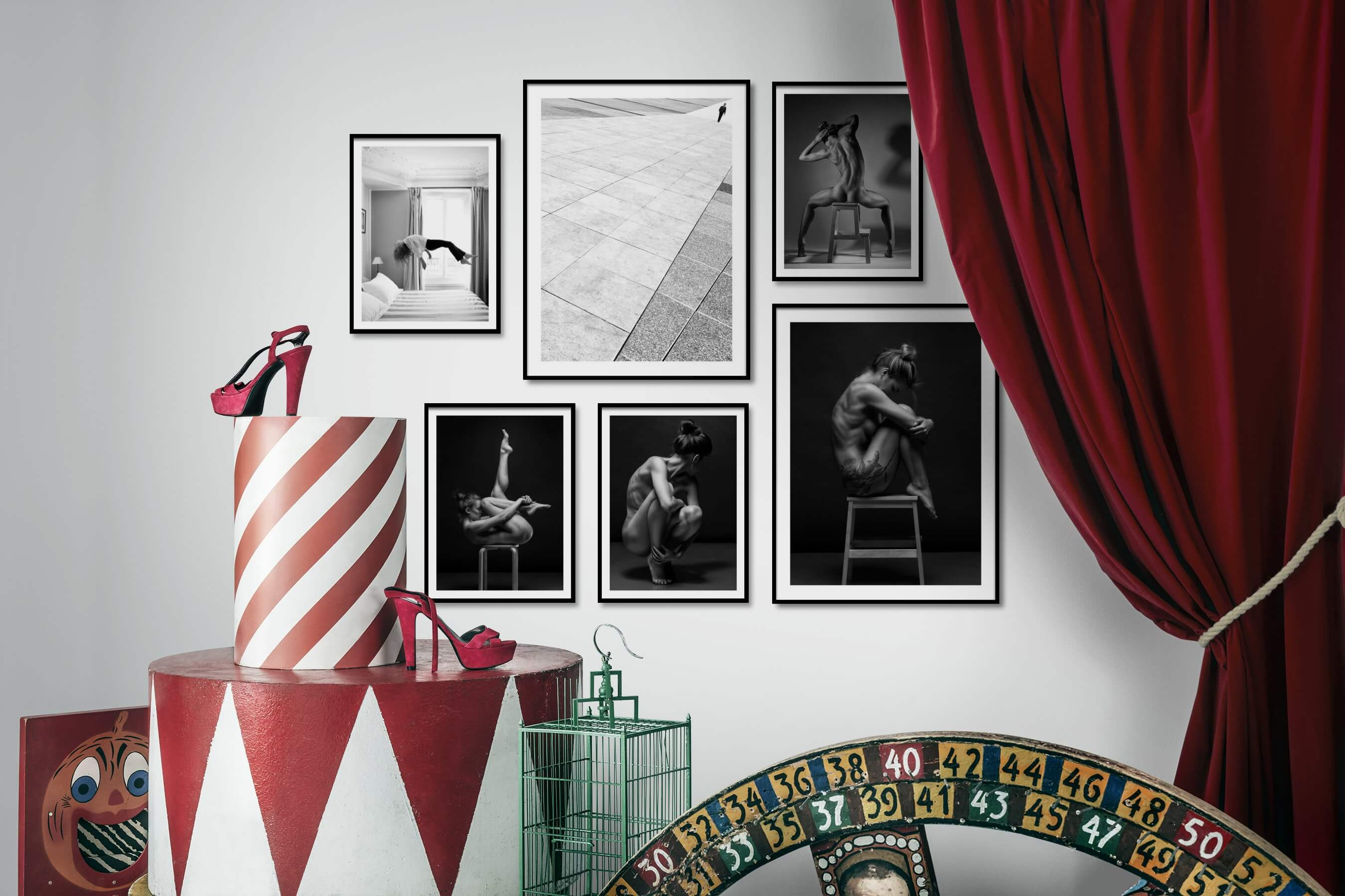 Gallery wall idea with six framed pictures arranged on a wall depicting Artsy, Black & White, For the Minimalist, and Fashion & Beauty