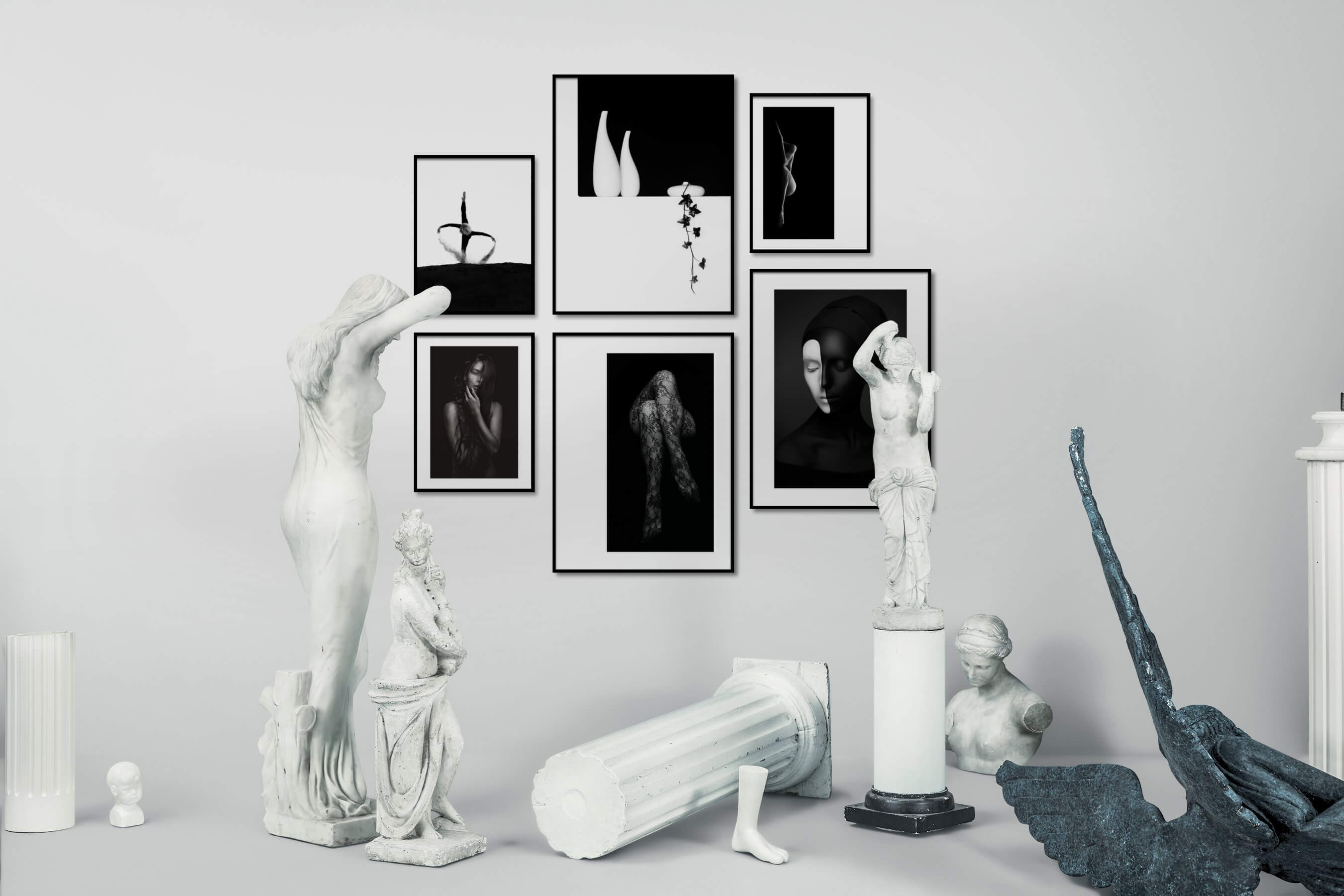 Gallery wall idea with six framed pictures arranged on a wall depicting Black & White, Bright Tones, Mindfulness, For the Minimalist, Flowers & Plants, Fashion & Beauty, and Artsy