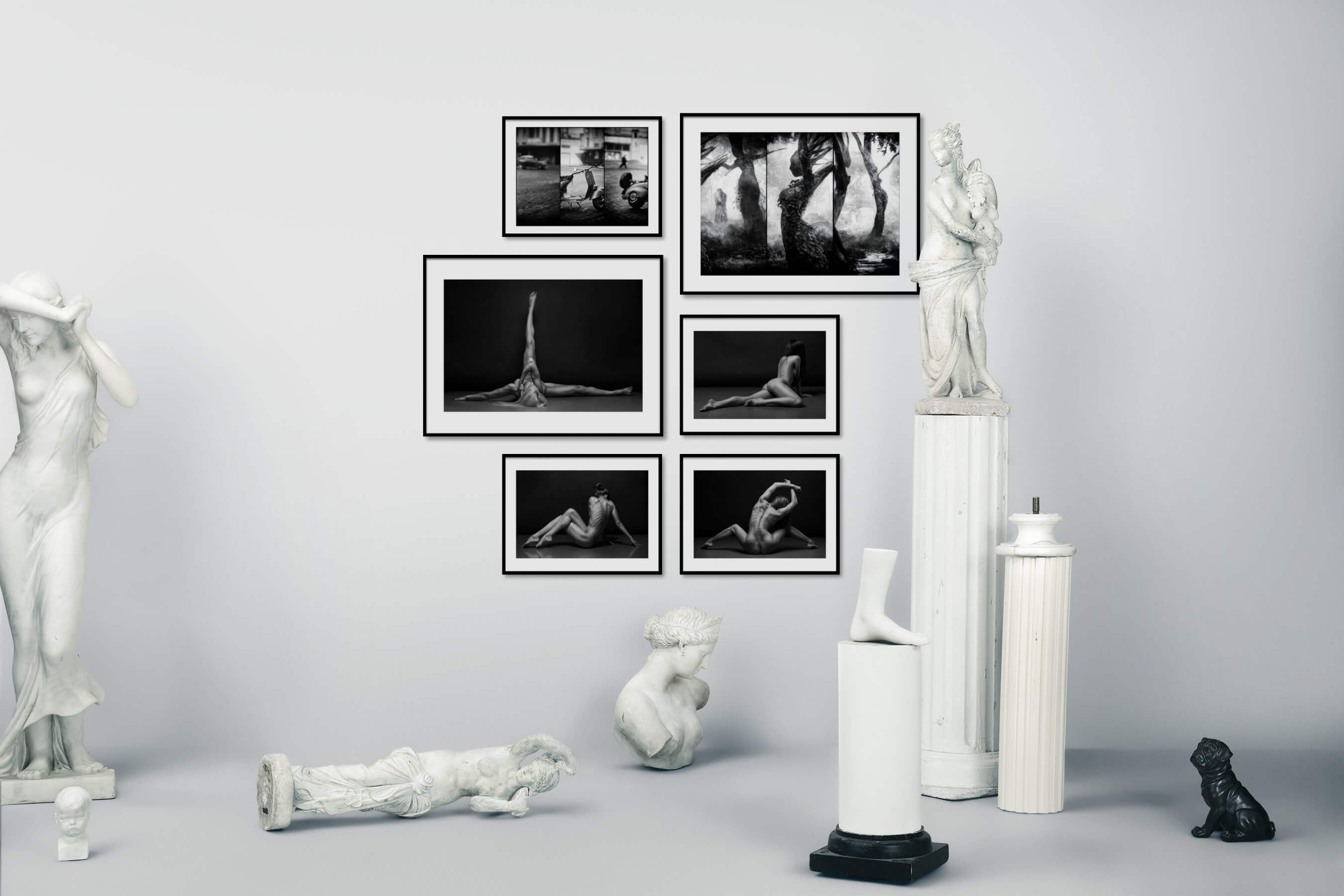 Gallery wall idea with six framed pictures arranged on a wall depicting Black & White, City Life, Vintage, Artsy, Nature, Fashion & Beauty, For the Minimalist, and Mindfulness