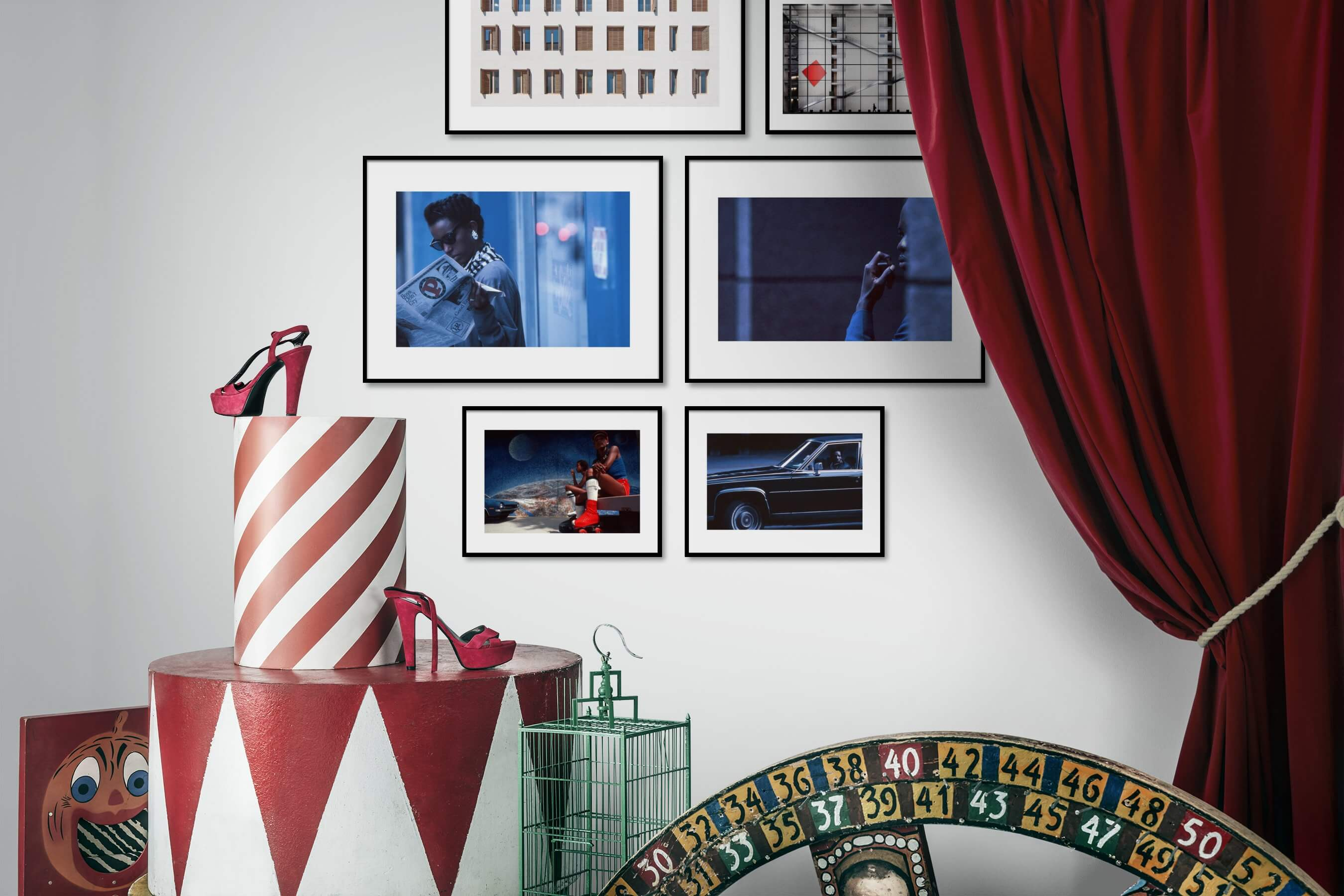 Gallery wall idea with six framed pictures arranged on a wall depicting For the Moderate, City Life, Americana, Vintage, and Fashion & Beauty