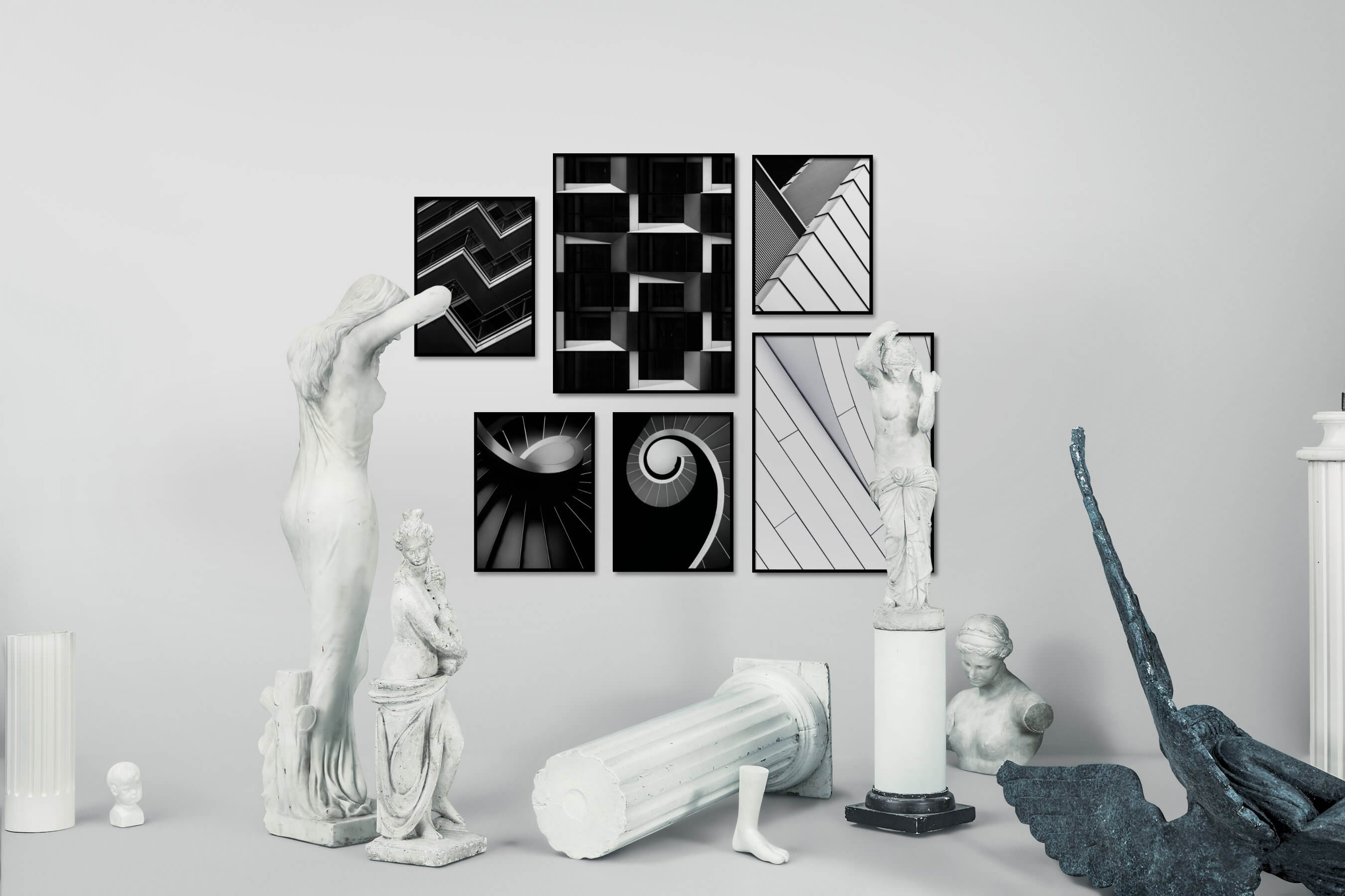 Gallery wall idea with six framed pictures arranged on a wall depicting Black & White, For the Moderate, City Life, Dark Tones, For the Minimalist, and Bright Tones