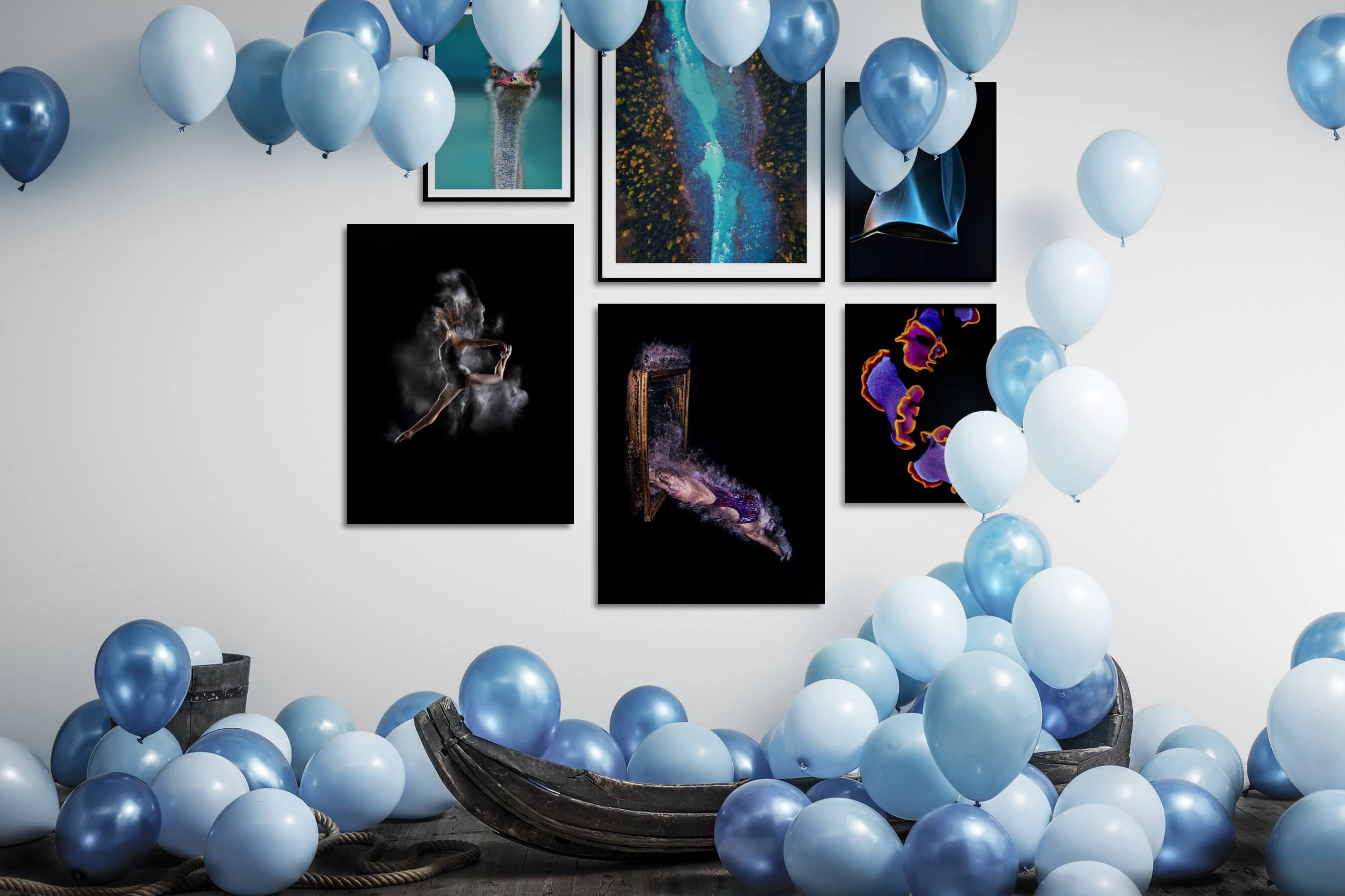 Gallery wall idea with six framed pictures arranged on a wall depicting For the Minimalist, Animals, For the Moderate, Nature, Fashion & Beauty, Dark Tones, Artsy, and Colorful
