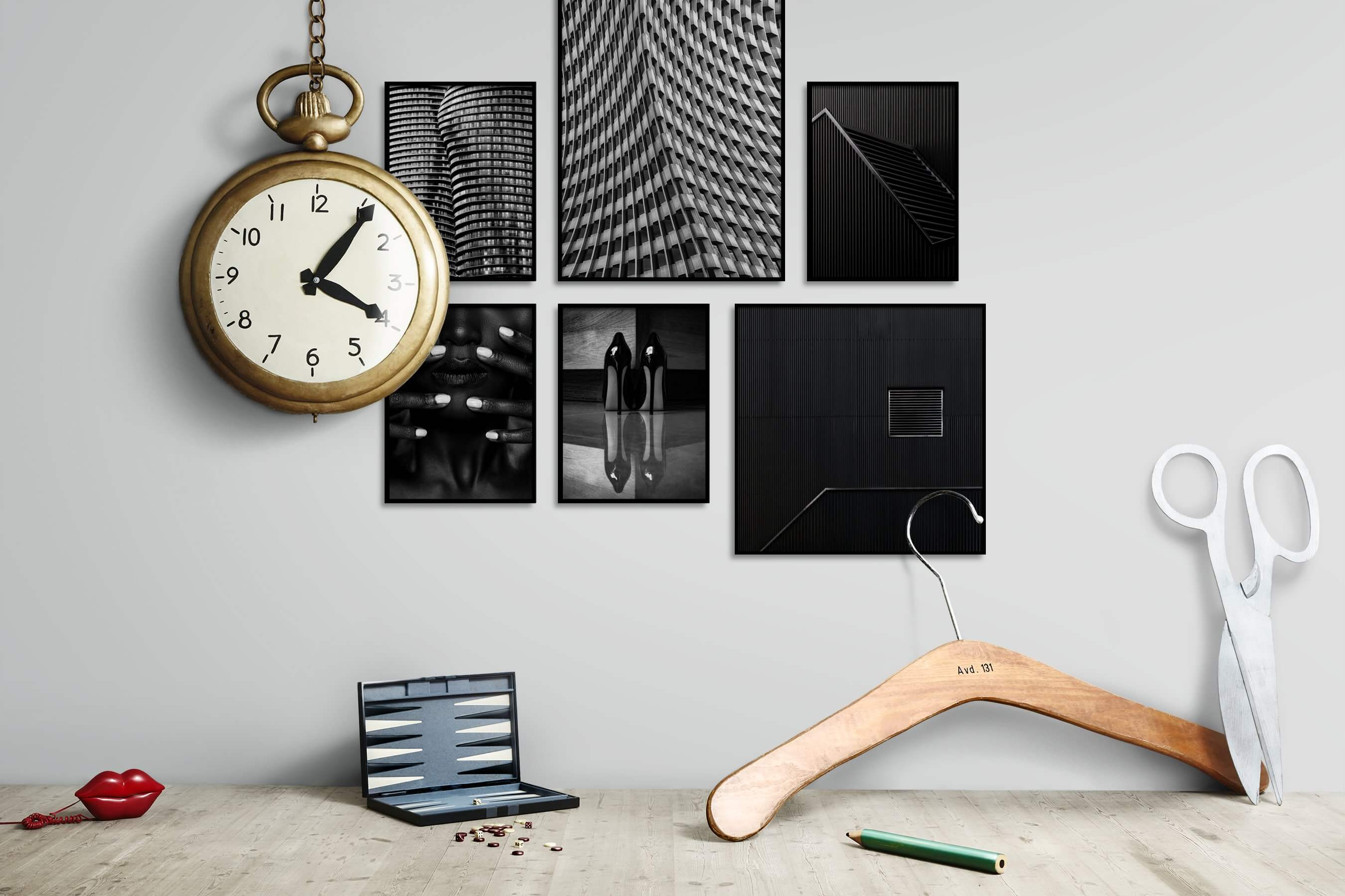 Gallery wall idea with six framed pictures arranged on a wall depicting For the Maximalist, City Life, Black & White, For the Moderate, Fashion & Beauty, Dark Tones, and For the Minimalist