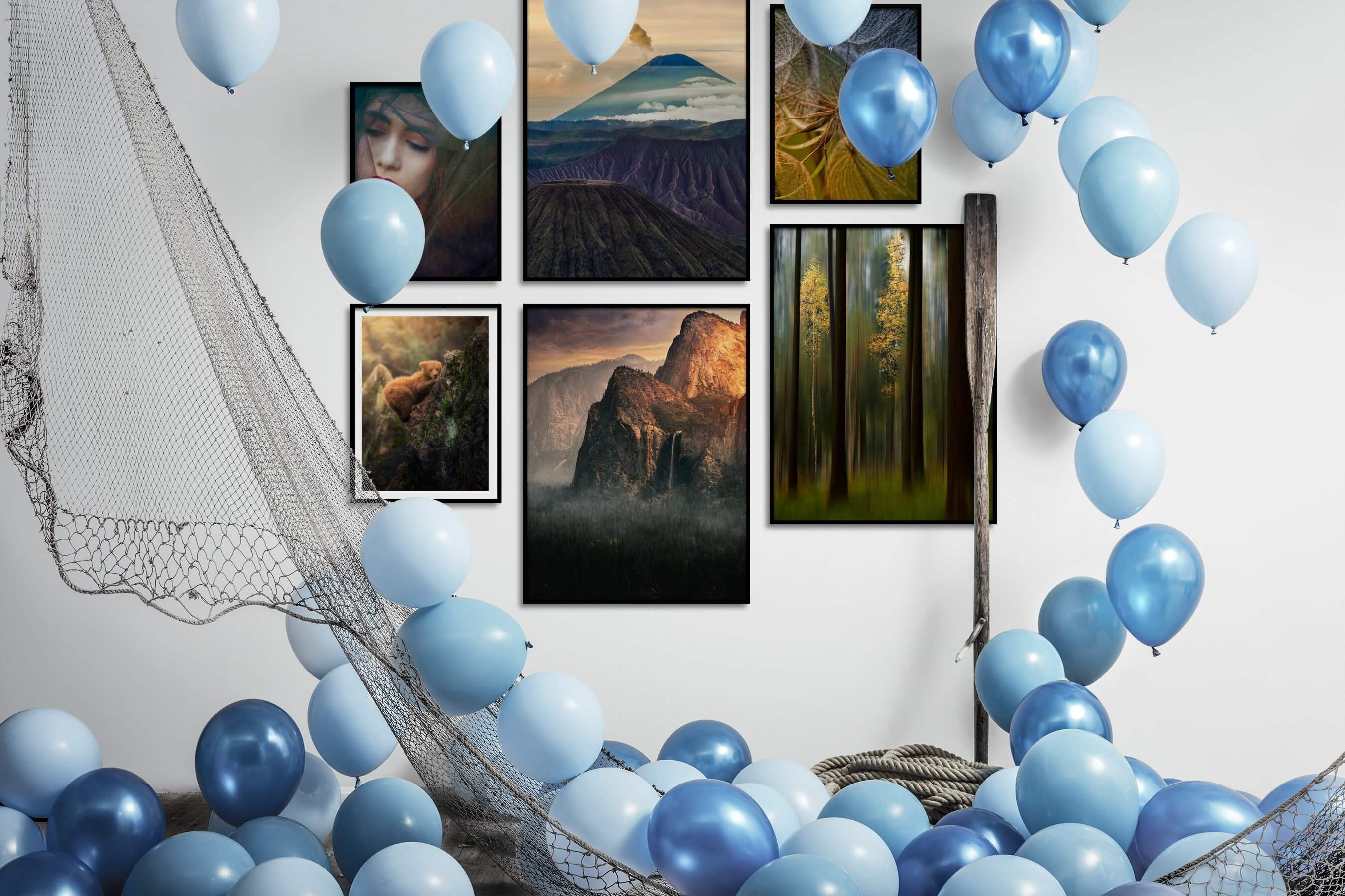 Gallery wall idea with six framed pictures arranged on a wall depicting Fashion & Beauty, Nature, Animals, Americana, For the Moderate, Flowers & Plants, and Mindfulness