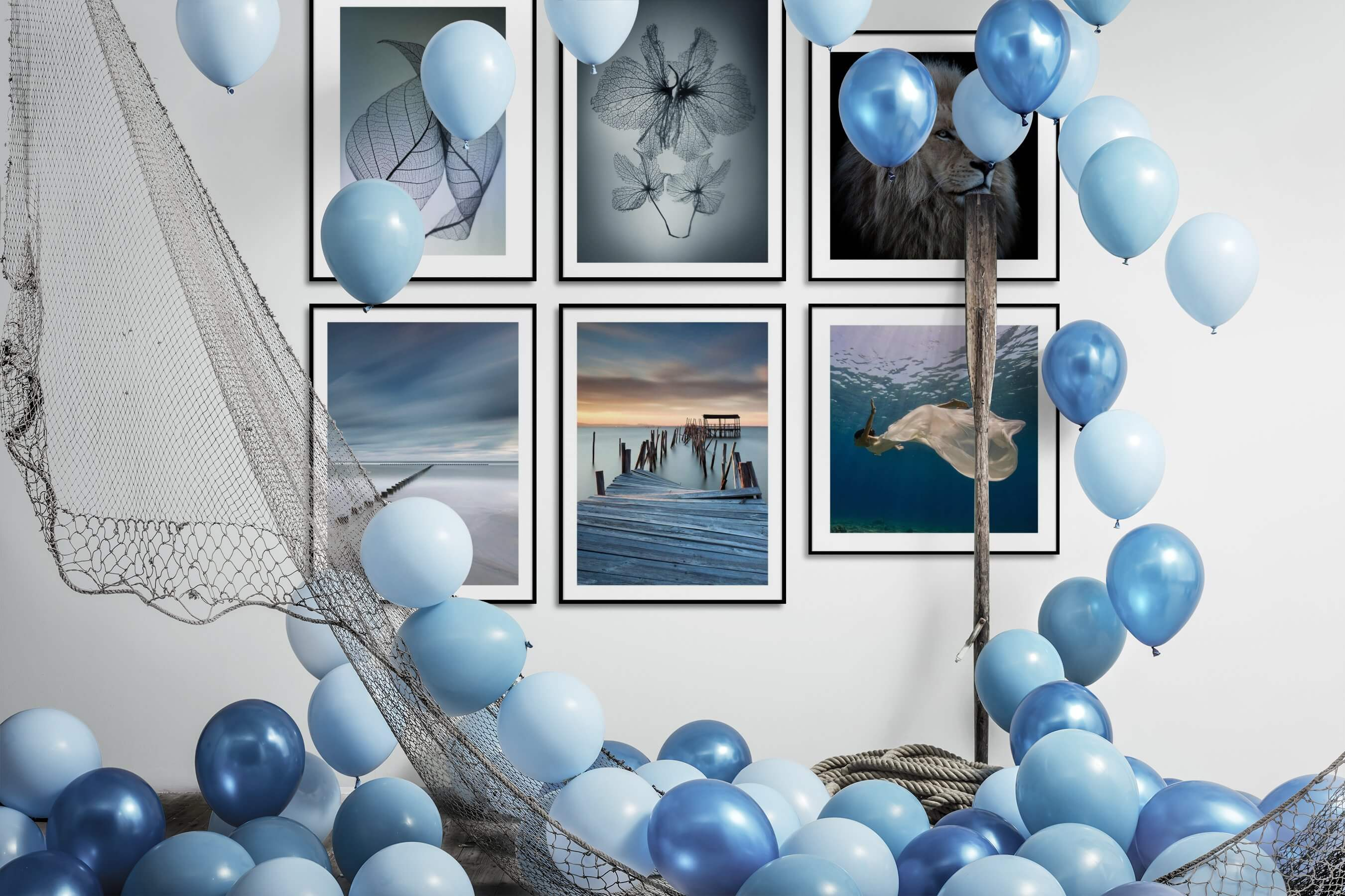 Gallery wall idea with six framed pictures arranged on a wall depicting For the Minimalist, Flowers & Plants, Mindfulness, For the Moderate, Beach & Water, Animals, and Fashion & Beauty