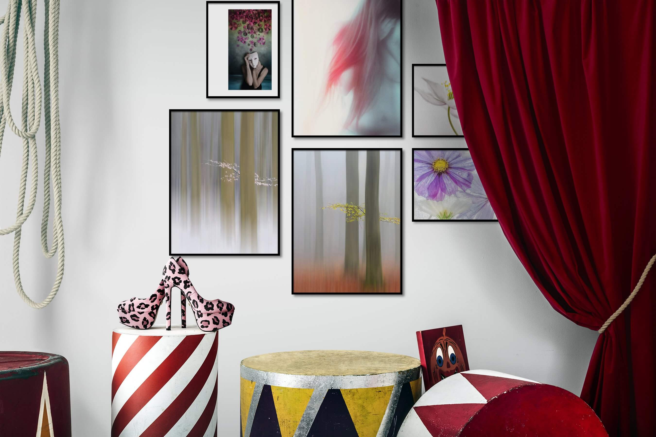 Gallery wall idea with six framed pictures arranged on a wall depicting Artsy, For the Moderate, Nature, For the Minimalist, and Flowers & Plants